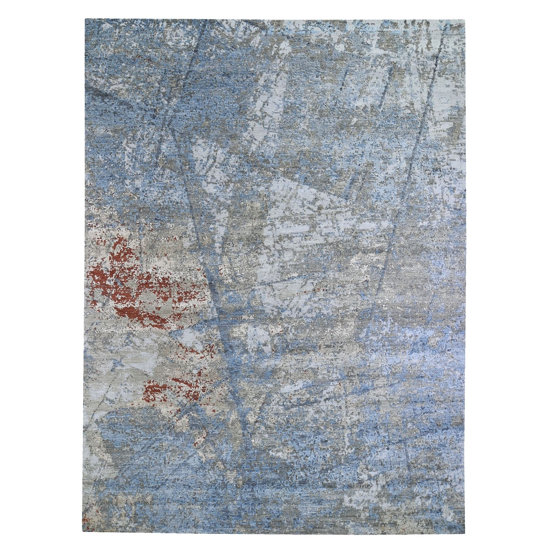 Mid Century Modern Collection Hand Knotted Blue Rug No: 1132908
