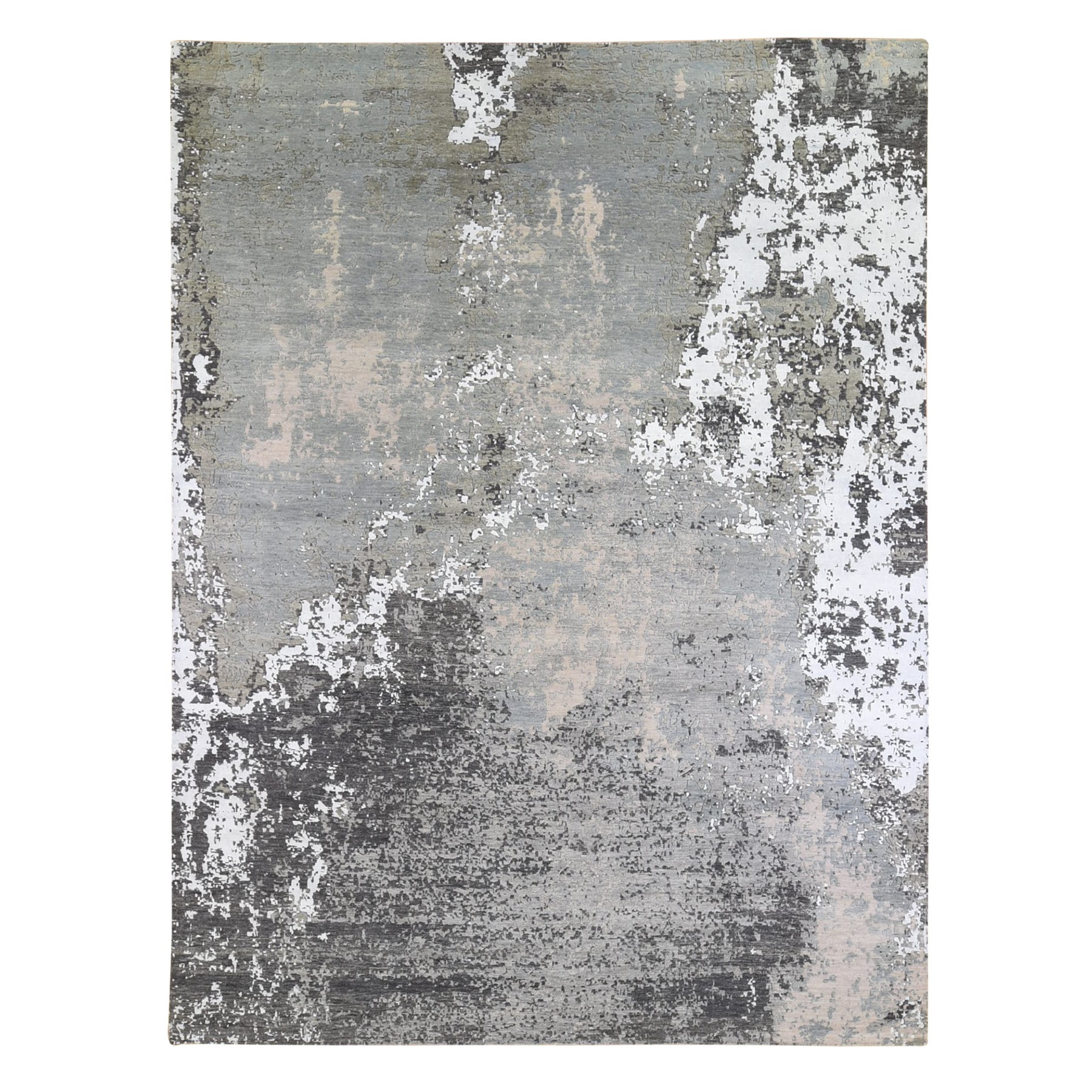 Mid Century Modern Collection Hand Knotted Grey Rug No: 1132940