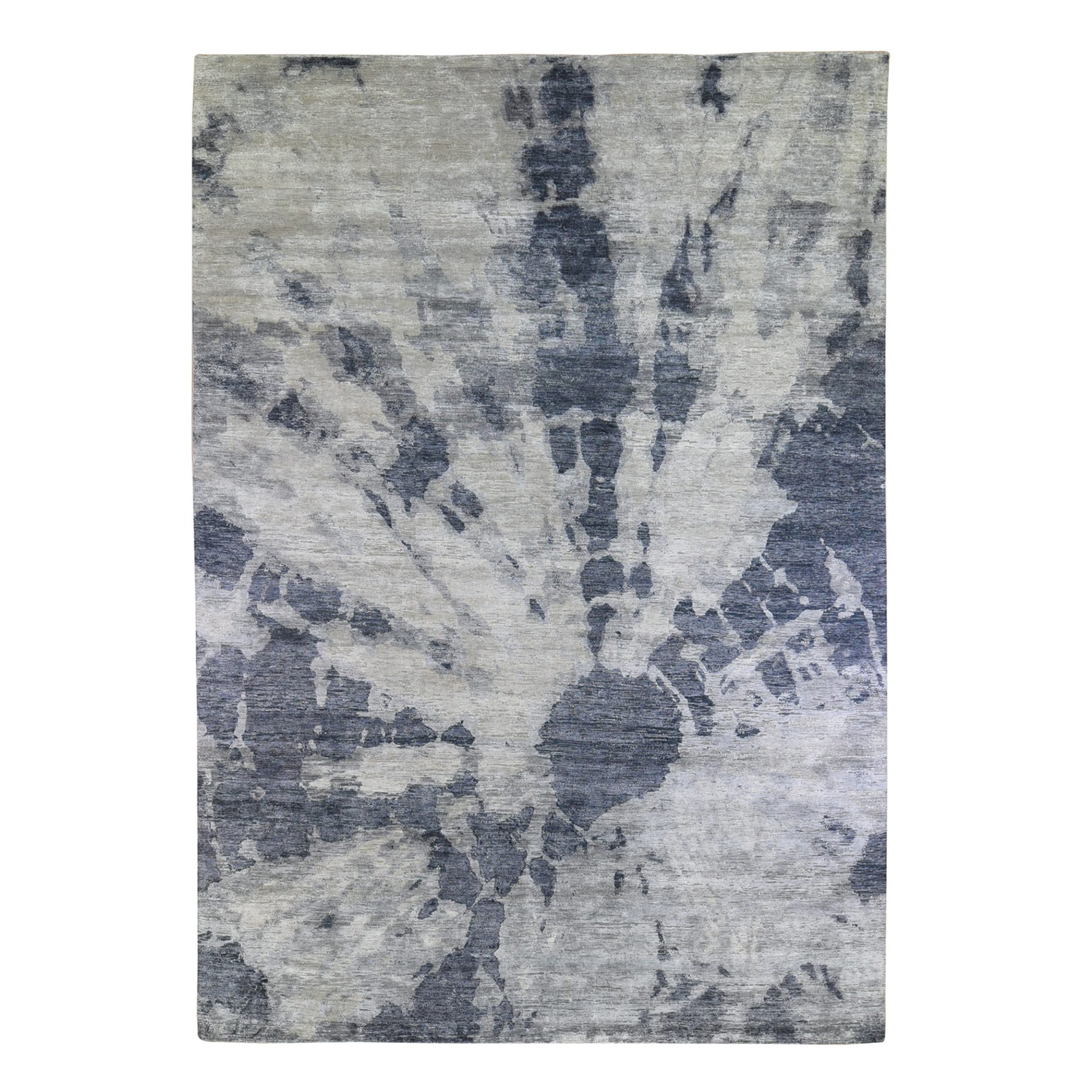 Mid Century Modern Collection Hand Knotted Grey Rug No: 1132982