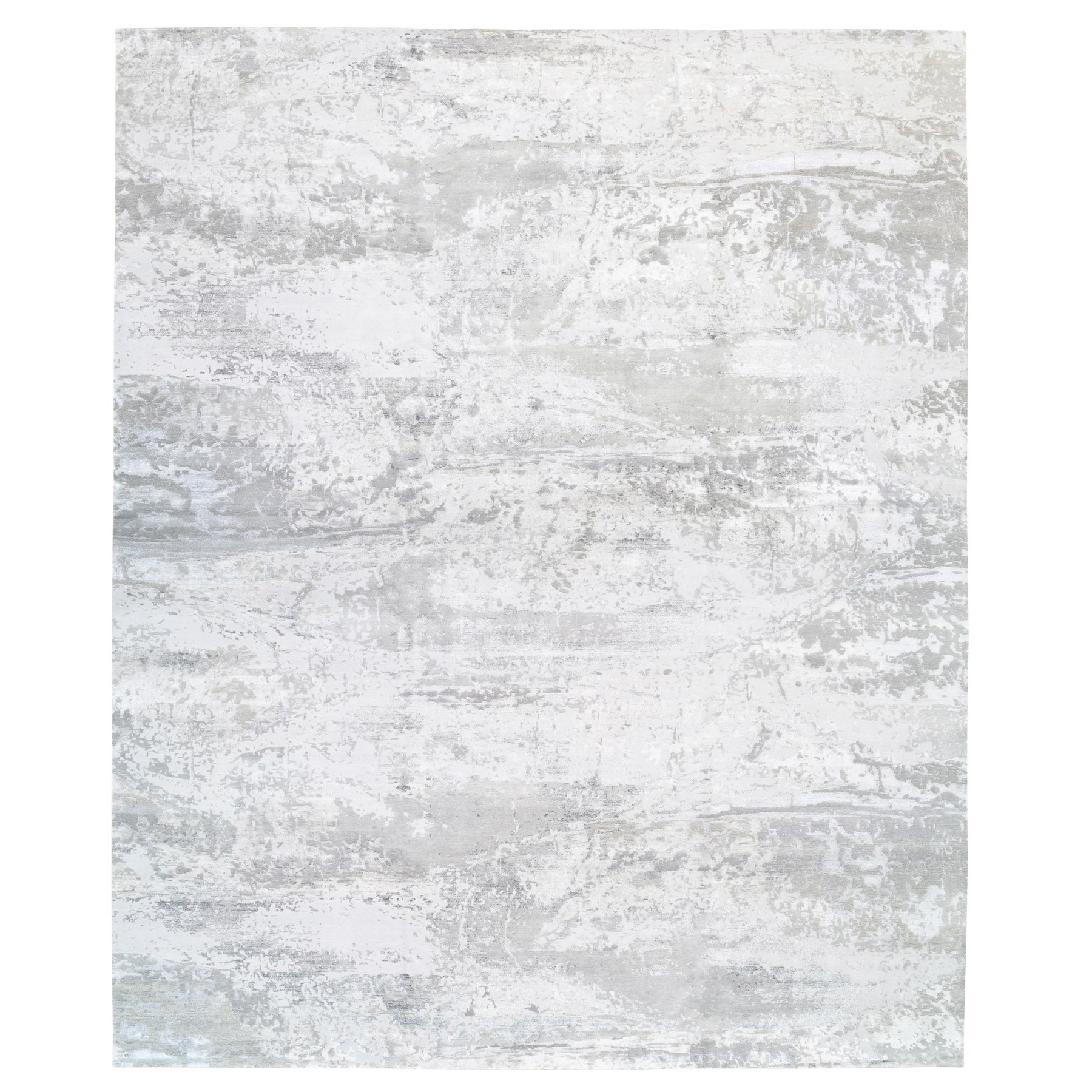 Mid Century Modern Collection Hand Knotted Grey Rug No: 1124842