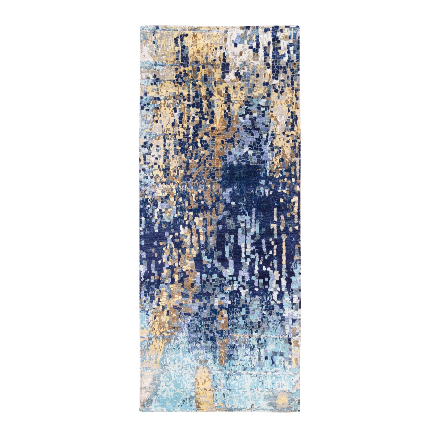 Mid Century Modern Collection Hand Knotted Blue Rug No: 1125306