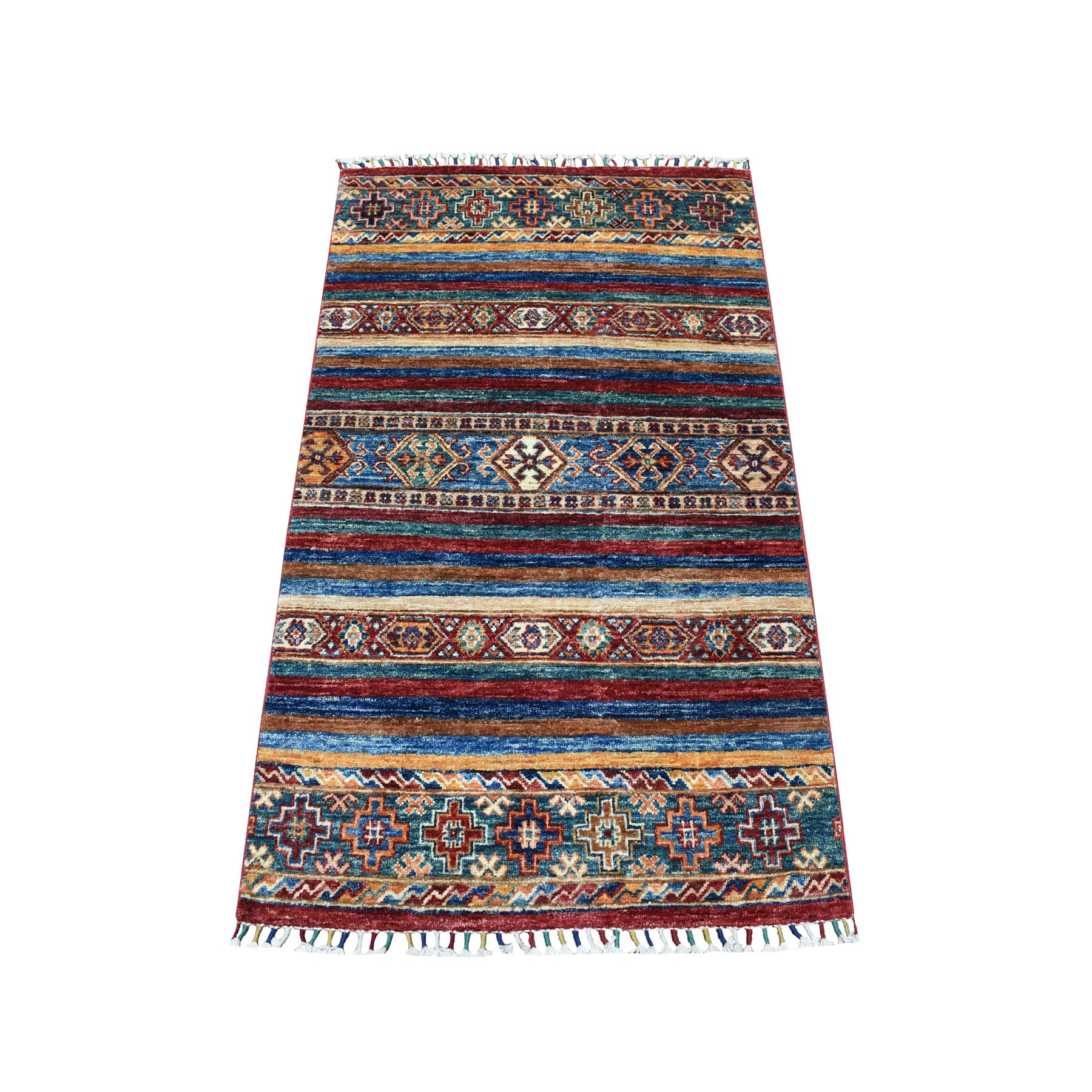 Caucasian Collection Hand Knotted Multicolored Rug No: 1104504