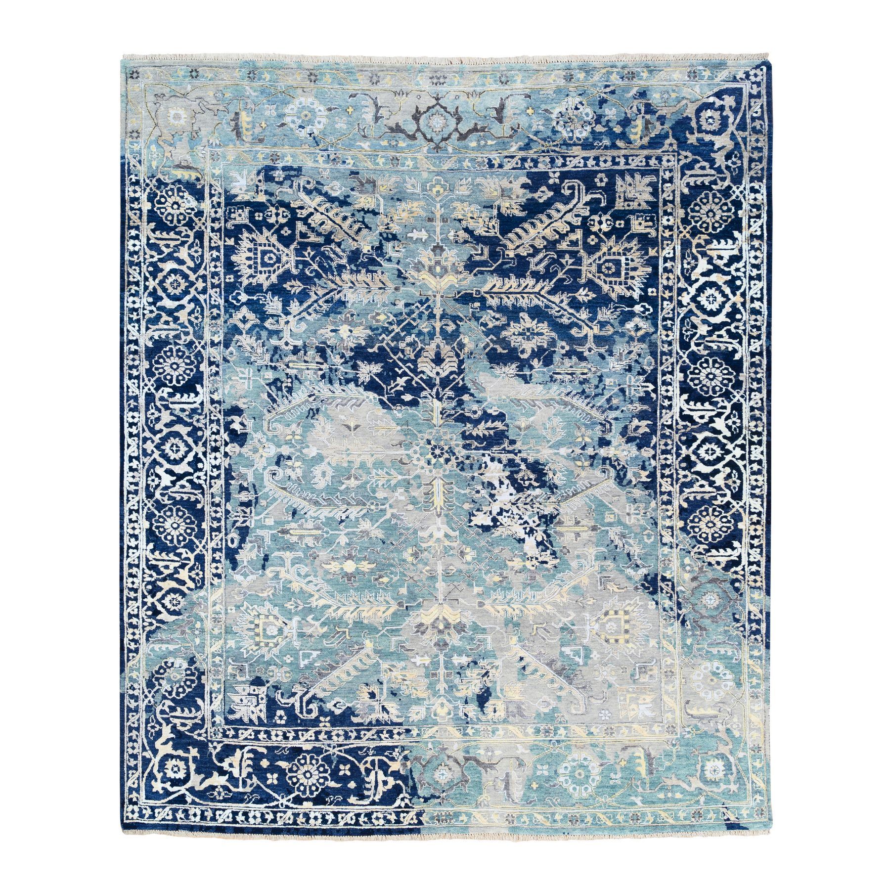 Transitional Hand Knotted Teal Rug No: 1125342