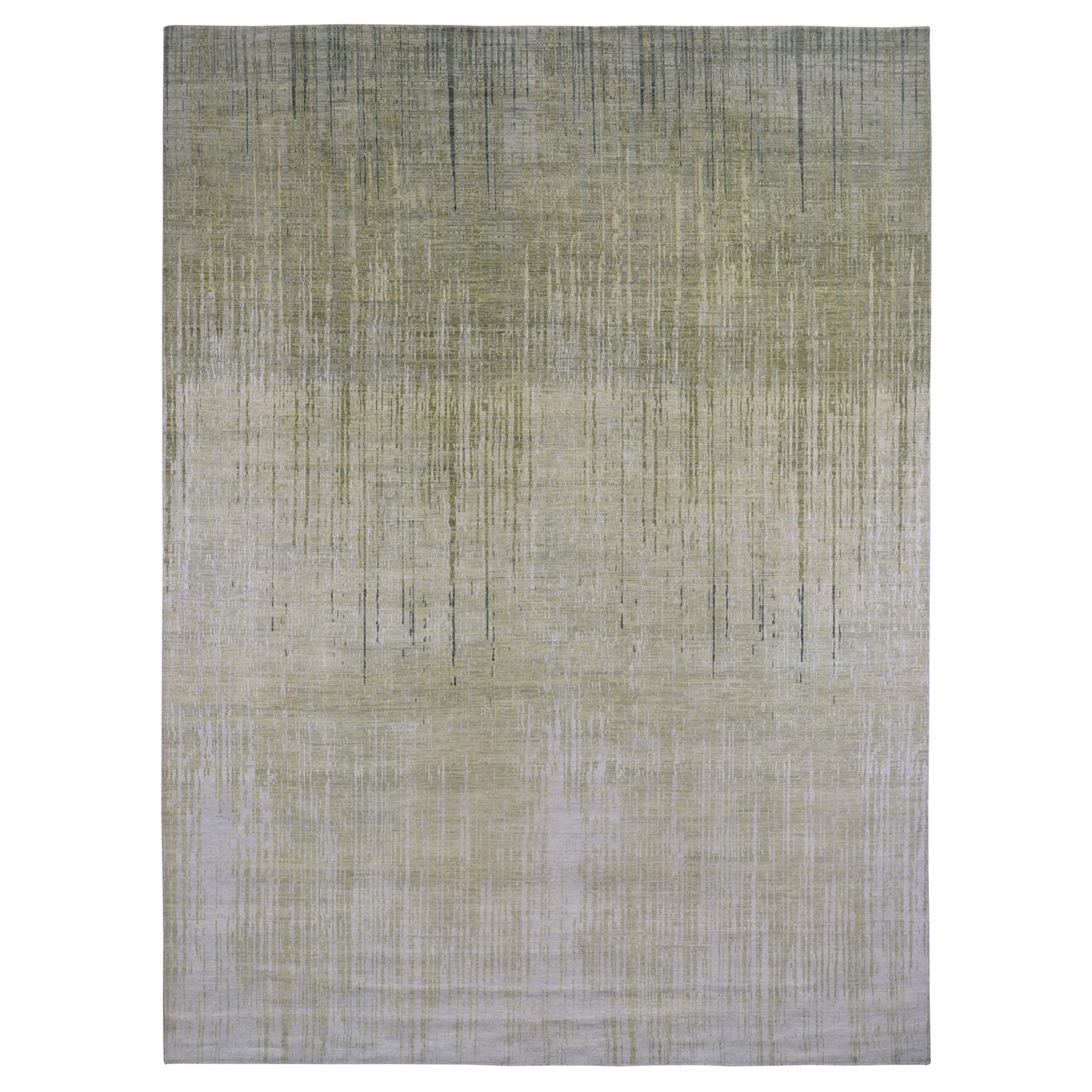Mid Century Modern Collection Hand Knotted Green Rug No: 1133082