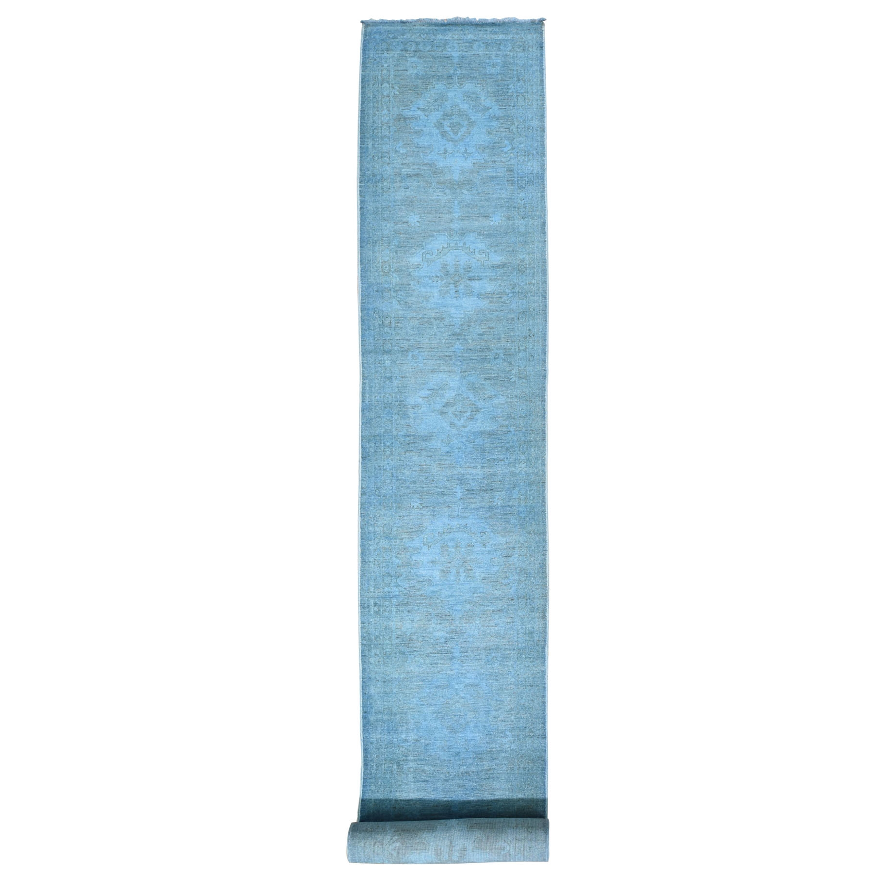 Fetneh Collection And Vintage Overdyed Collection Hand Knotted Blue Rug No: 196074