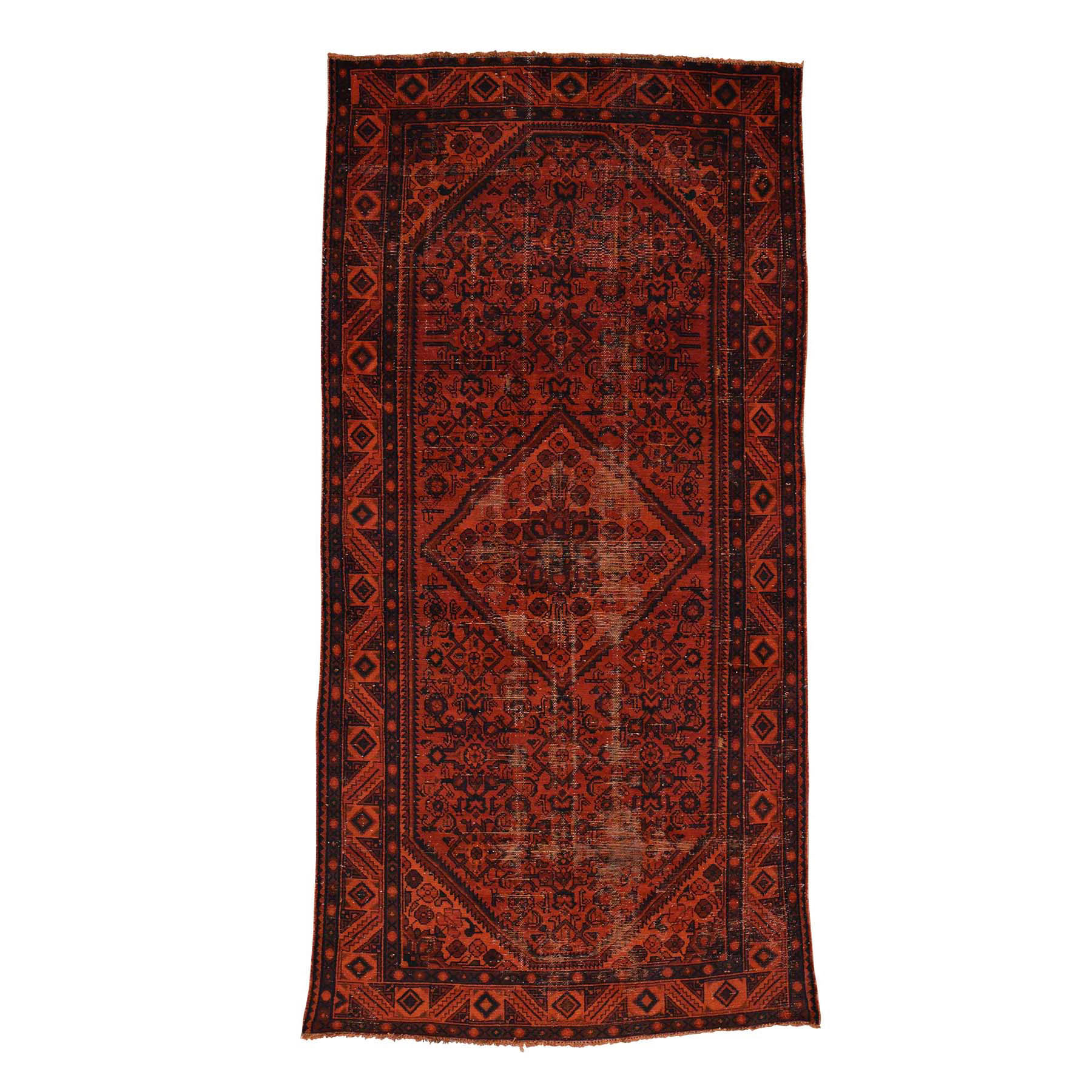 Fetneh Collection And Vintage Overdyed Collection Hand Knotted Red Rug No: 0171360