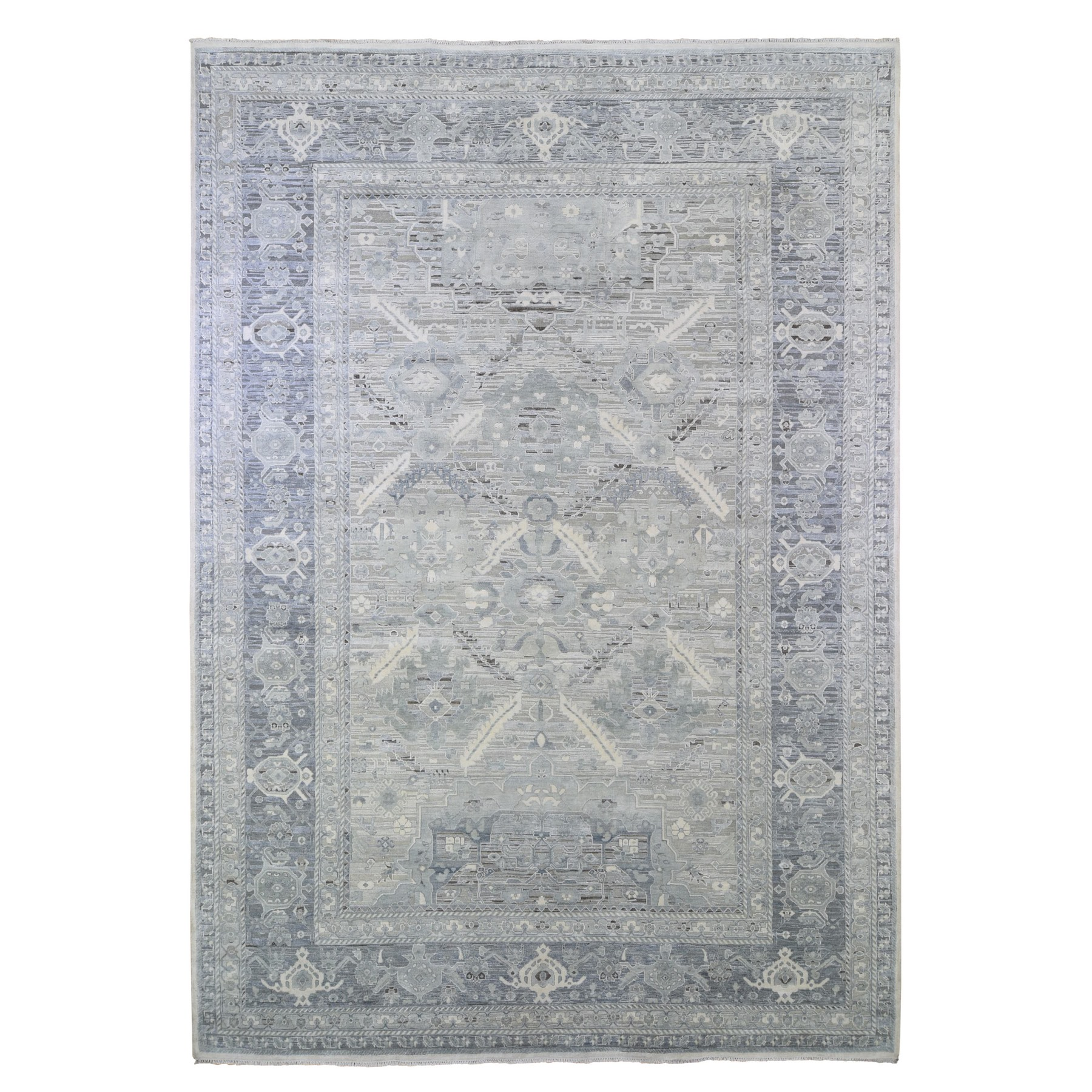 Agra And Turkish Collection Hand Knotted Ivory Rug No: 1133396