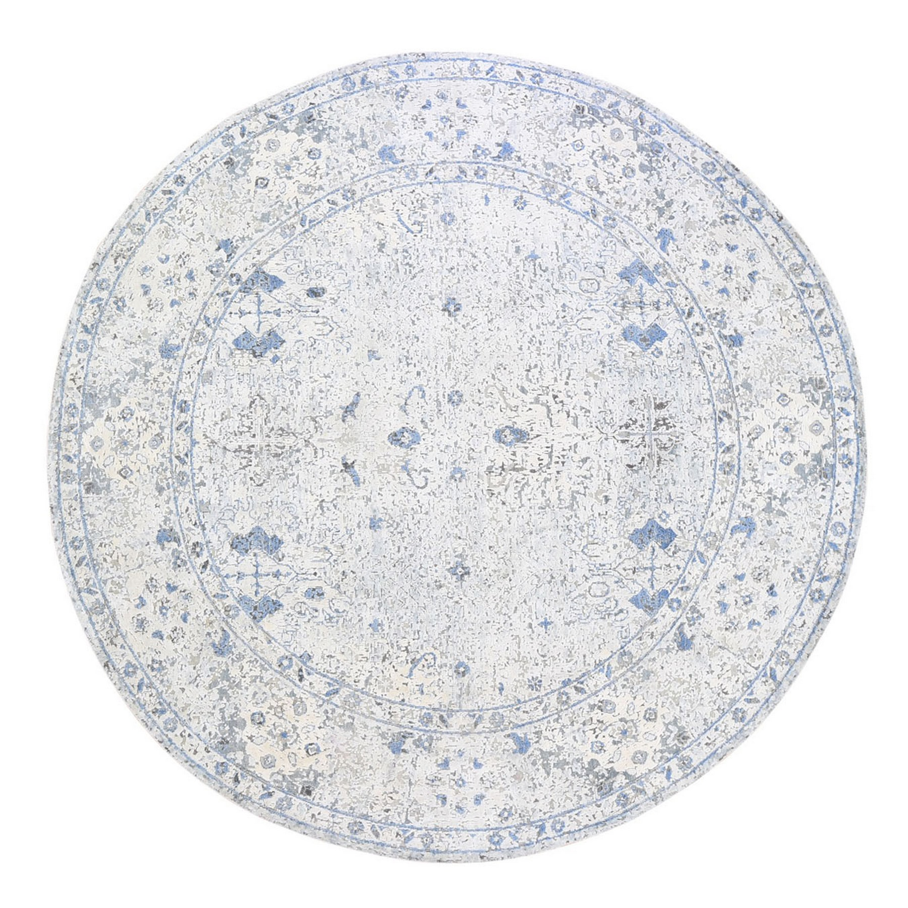 Transitional Hand Knotted Ivory Rug No: 1133428