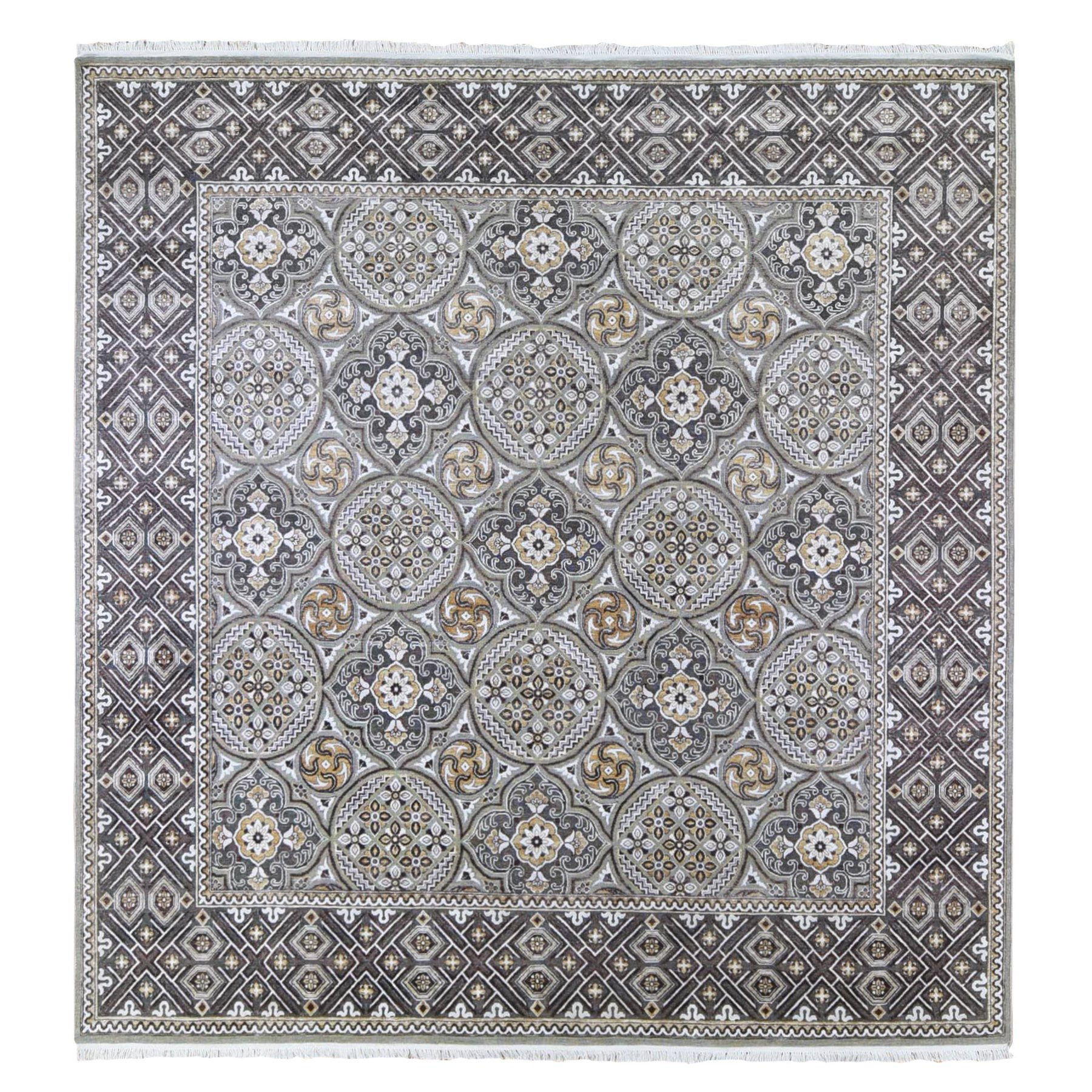 Transitional Hand Knotted Grey Rug No: 1133472