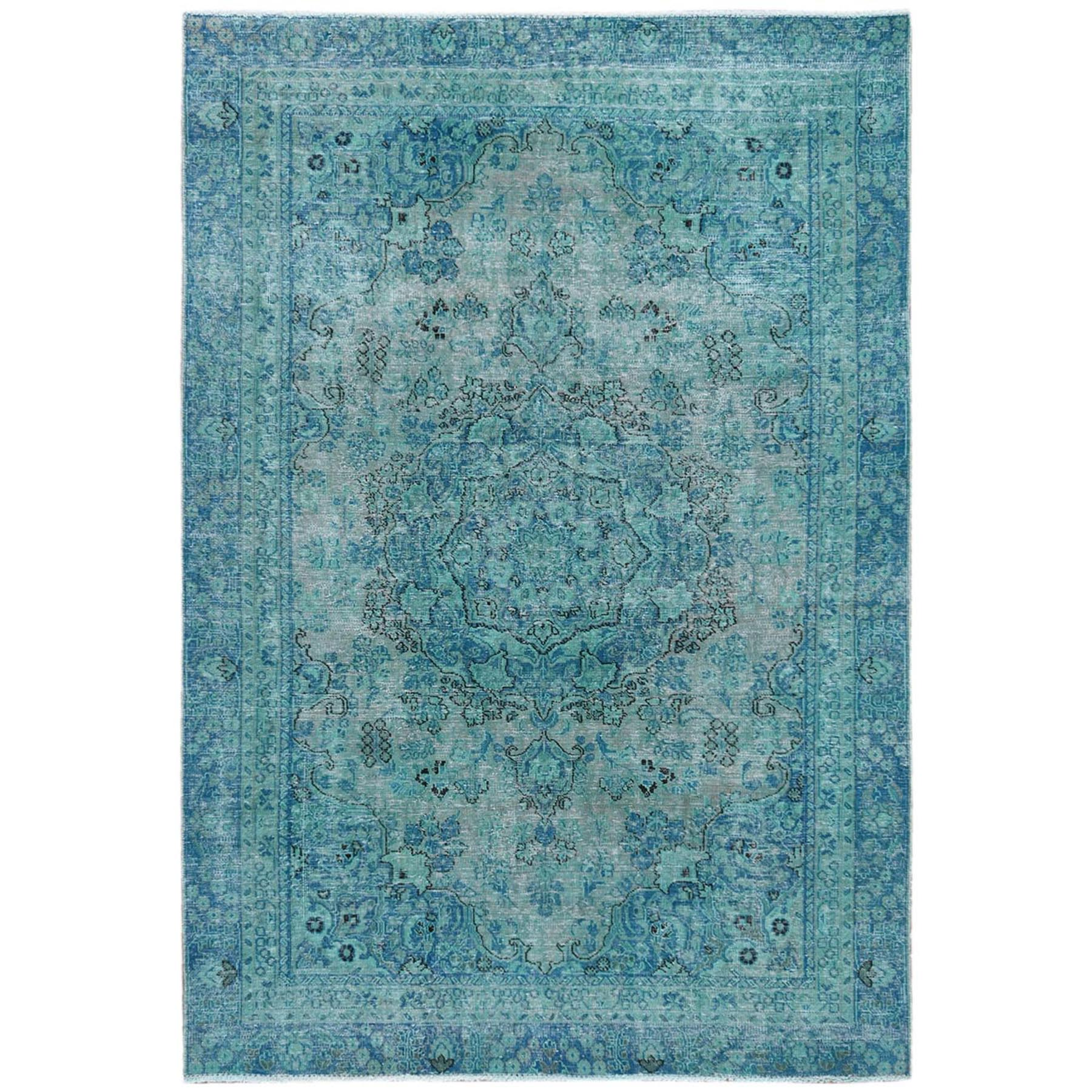 Fetneh Collection And Vintage Overdyed Collection Hand Knotted Green Rug No: 1121810