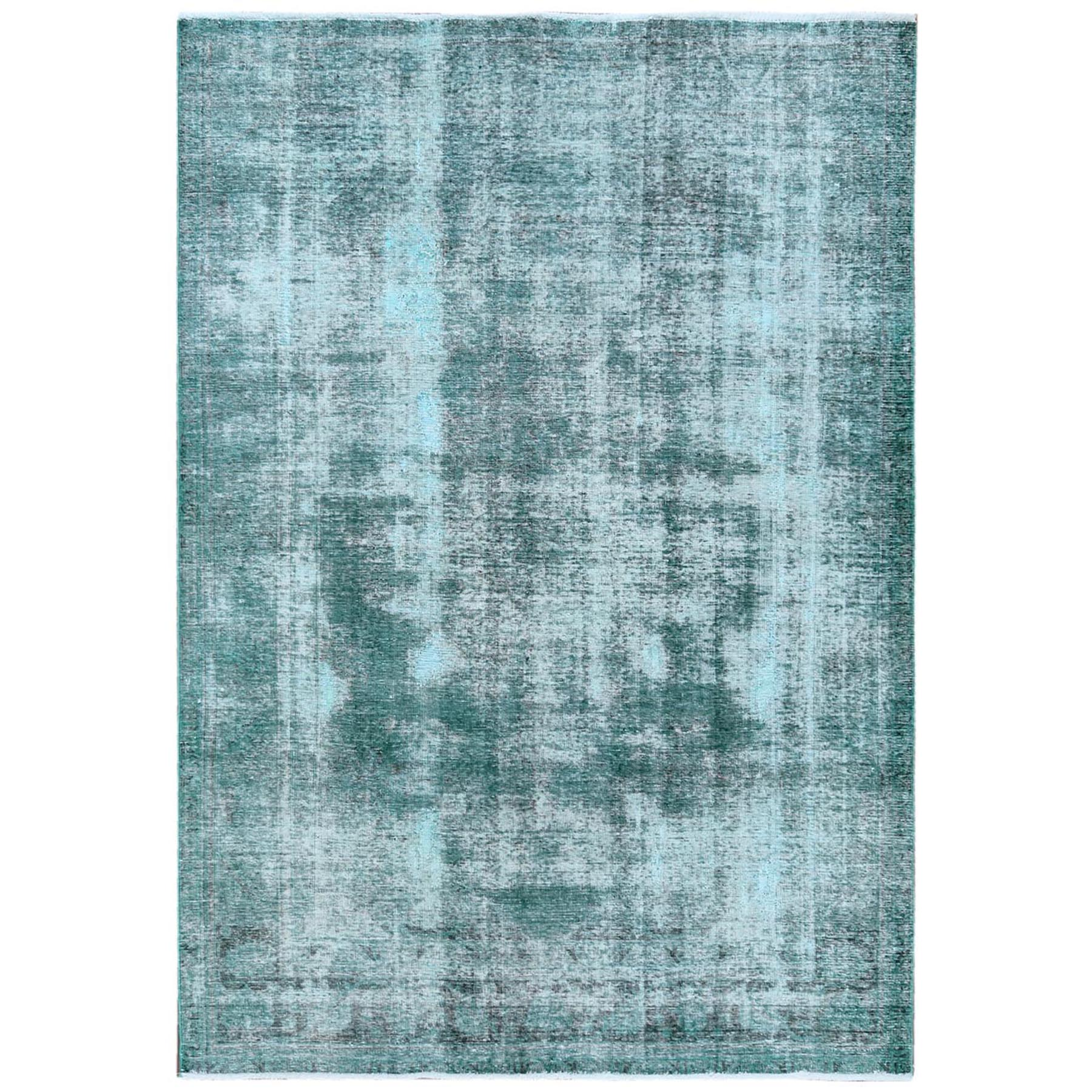 Fetneh Collection And Vintage Overdyed Collection Hand Knotted Green Rug No: 1121812