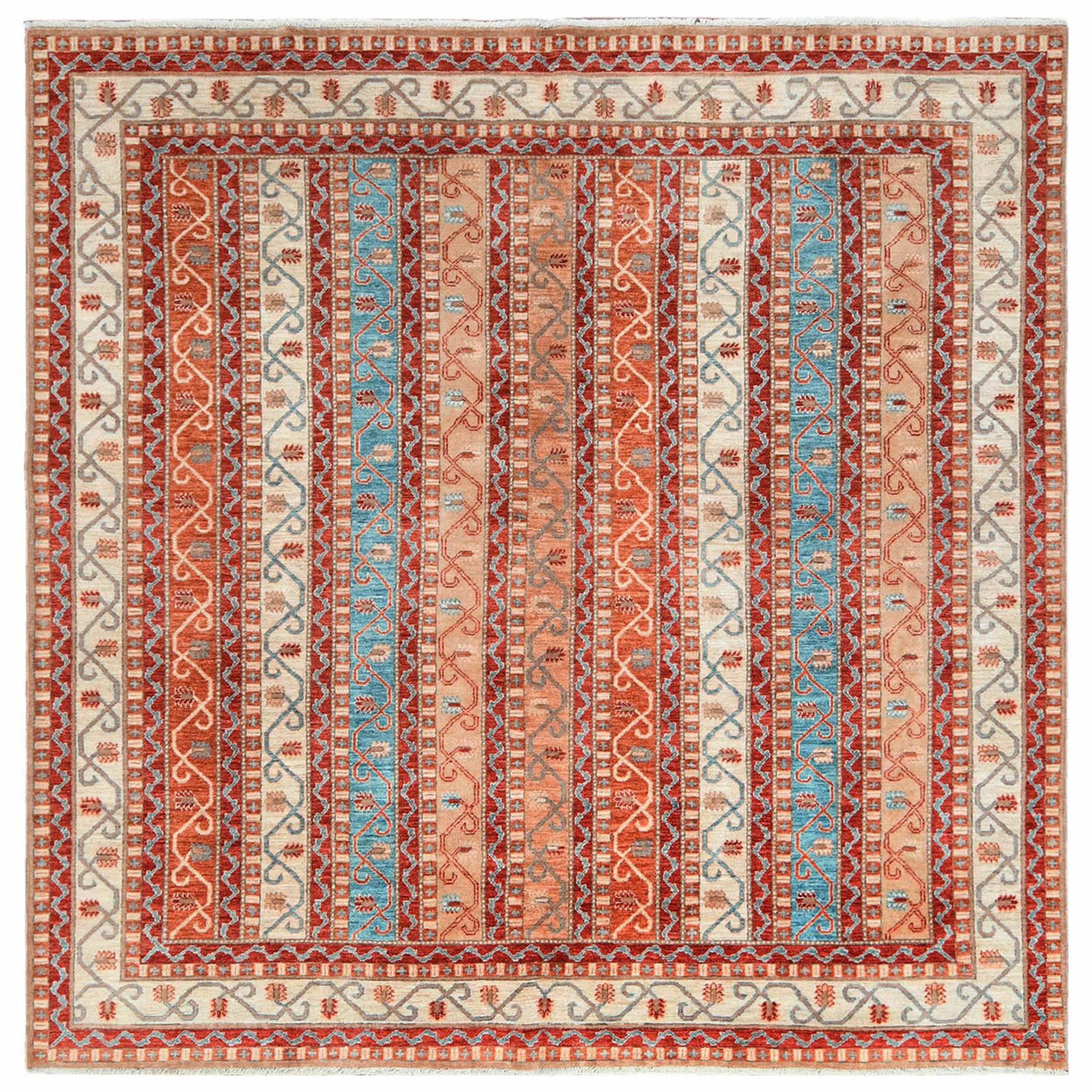 Caucasian Collection Hand Knotted Orange Rug No: 1122338