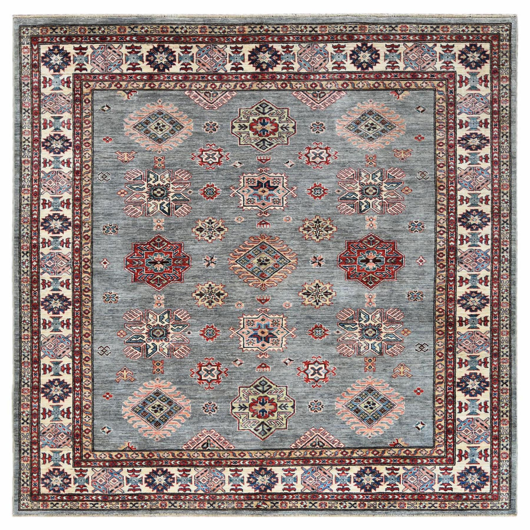 Caucasian Collection Hand Knotted Grey Rug No: 1122340