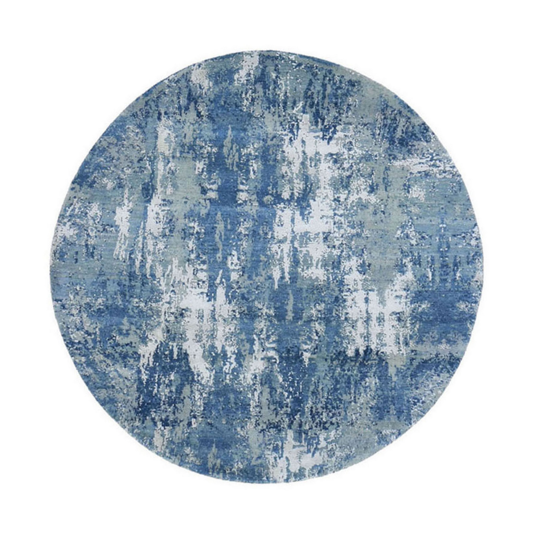 Mid Century Modern Collection Hand Knotted Blue Rug No: 1133510