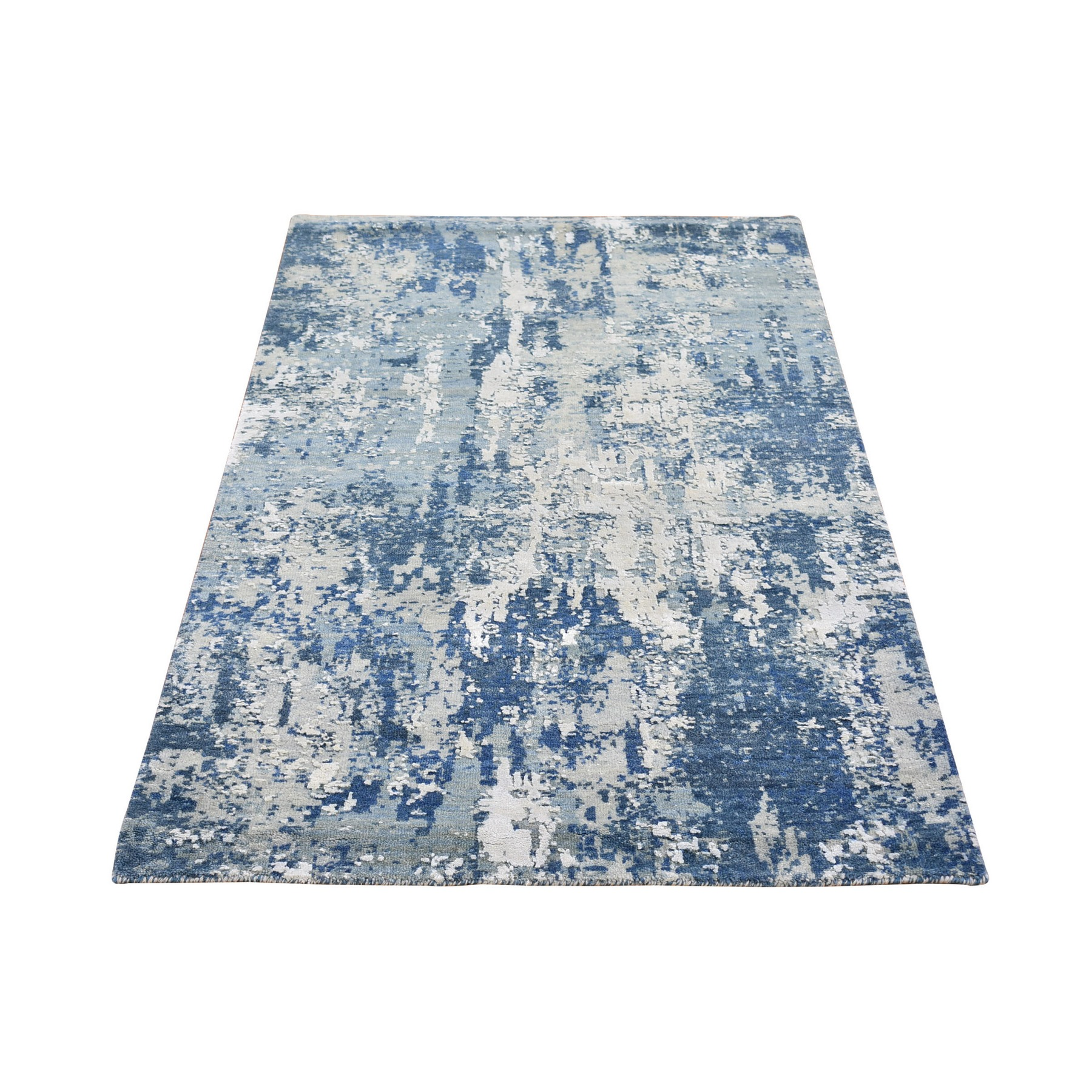 Mid Century Modern Collection Hand Knotted Blue Rug No: 1133540