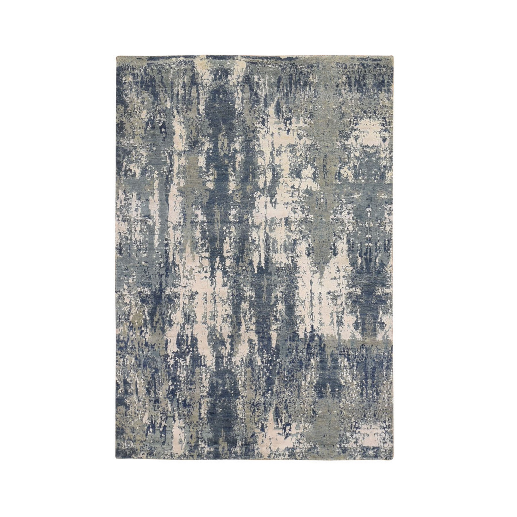 Mid Century Modern Collection Hand Knotted Blue Rug No: 1133542