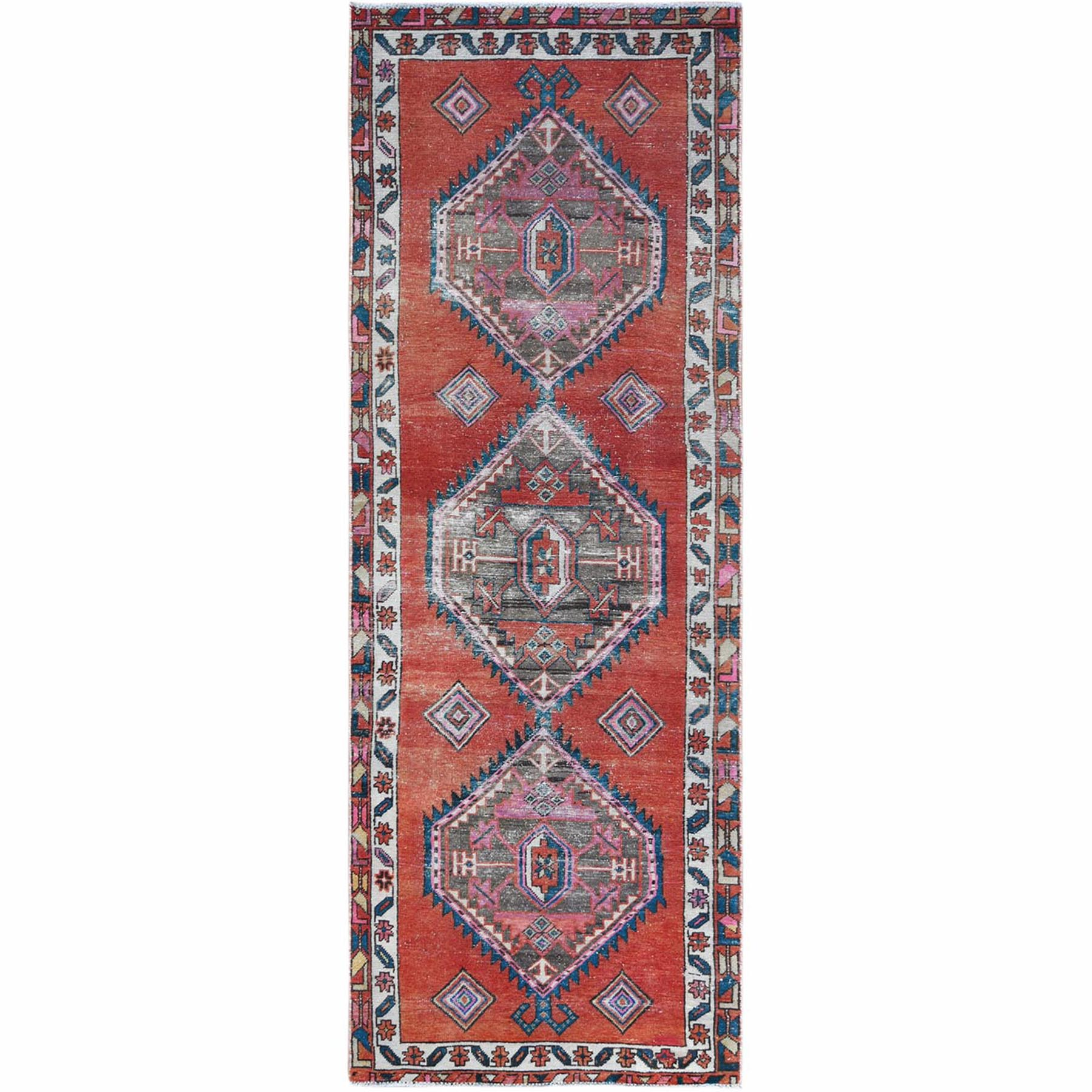 Fetneh Collection And Vintage Overdyed Collection Hand Knotted Red Rug No: 1121938
