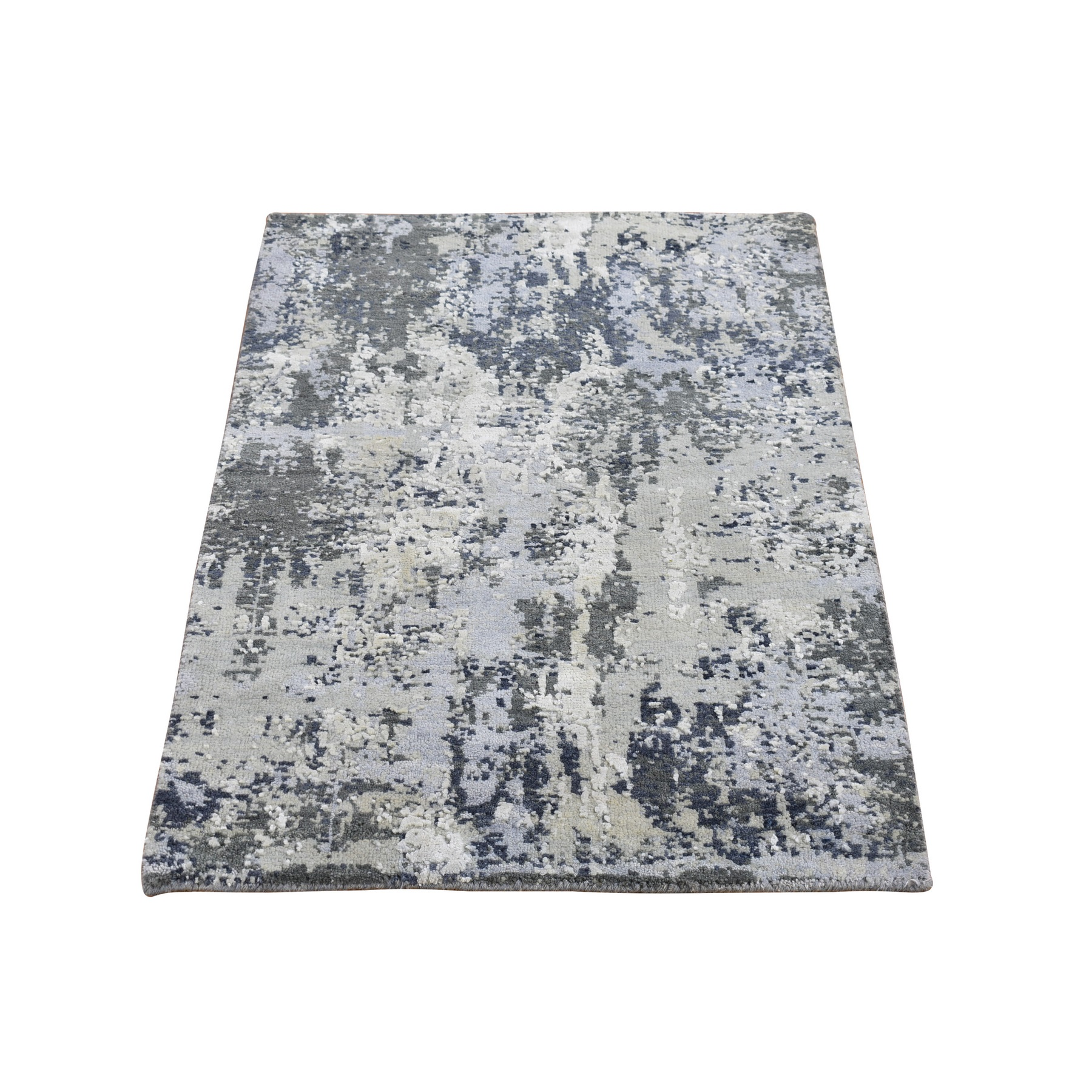 Mid Century Modern Collection Hand Knotted Grey Rug No: 1133550