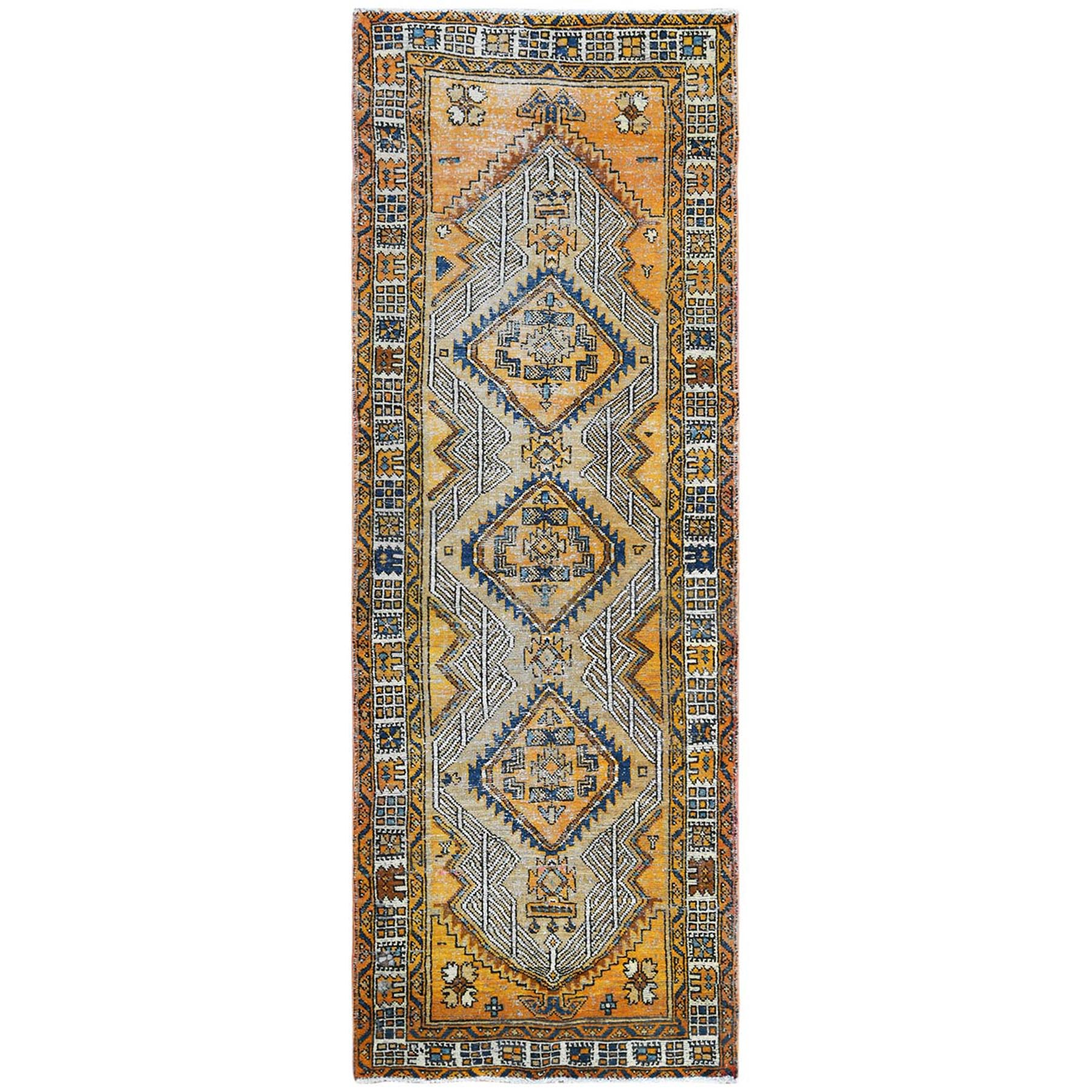 Fetneh Collection And Vintage Overdyed Collection Hand Knotted Yellow Rug No: 1122022
