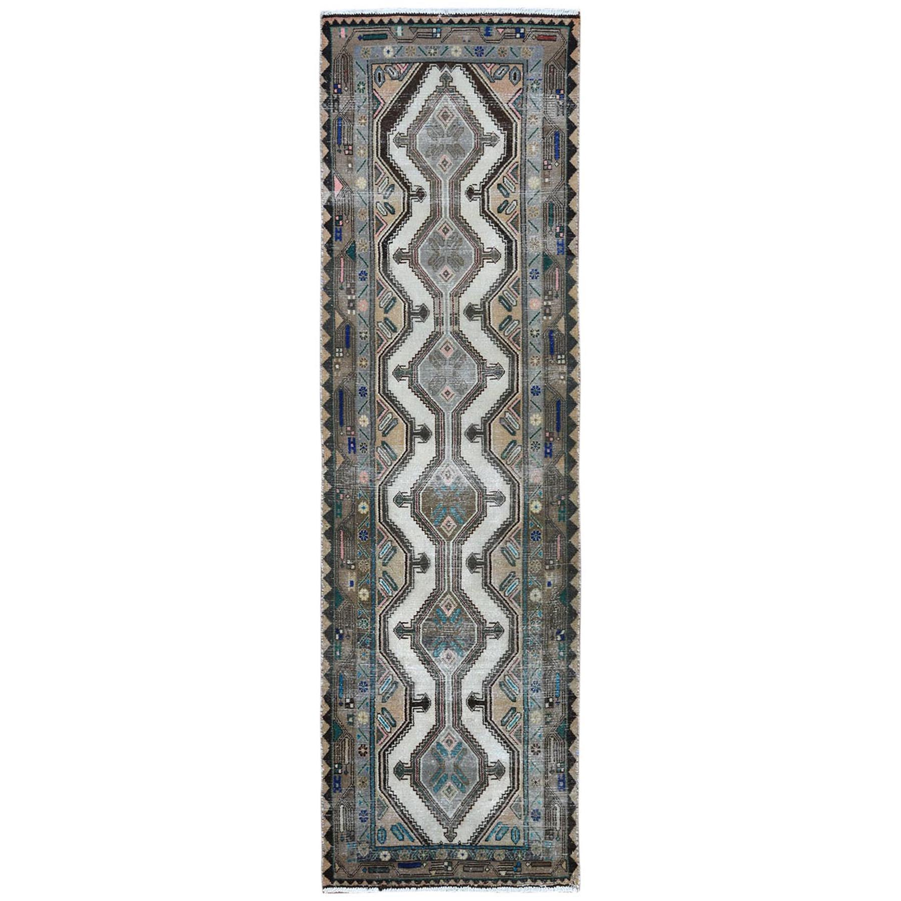 Fetneh Collection And Vintage Overdyed Collection Hand Knotted Grey Rug No: 1122032