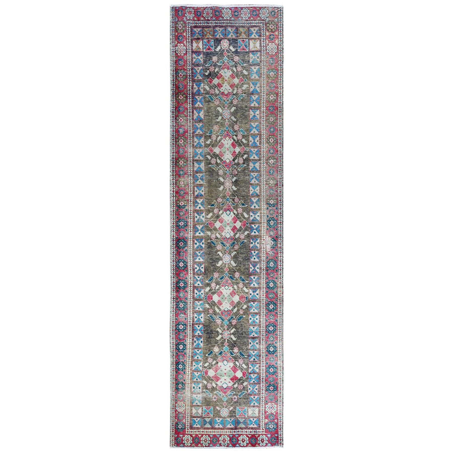 Fetneh Collection And Vintage Overdyed Collection Hand Knotted Green Rug No: 1122046