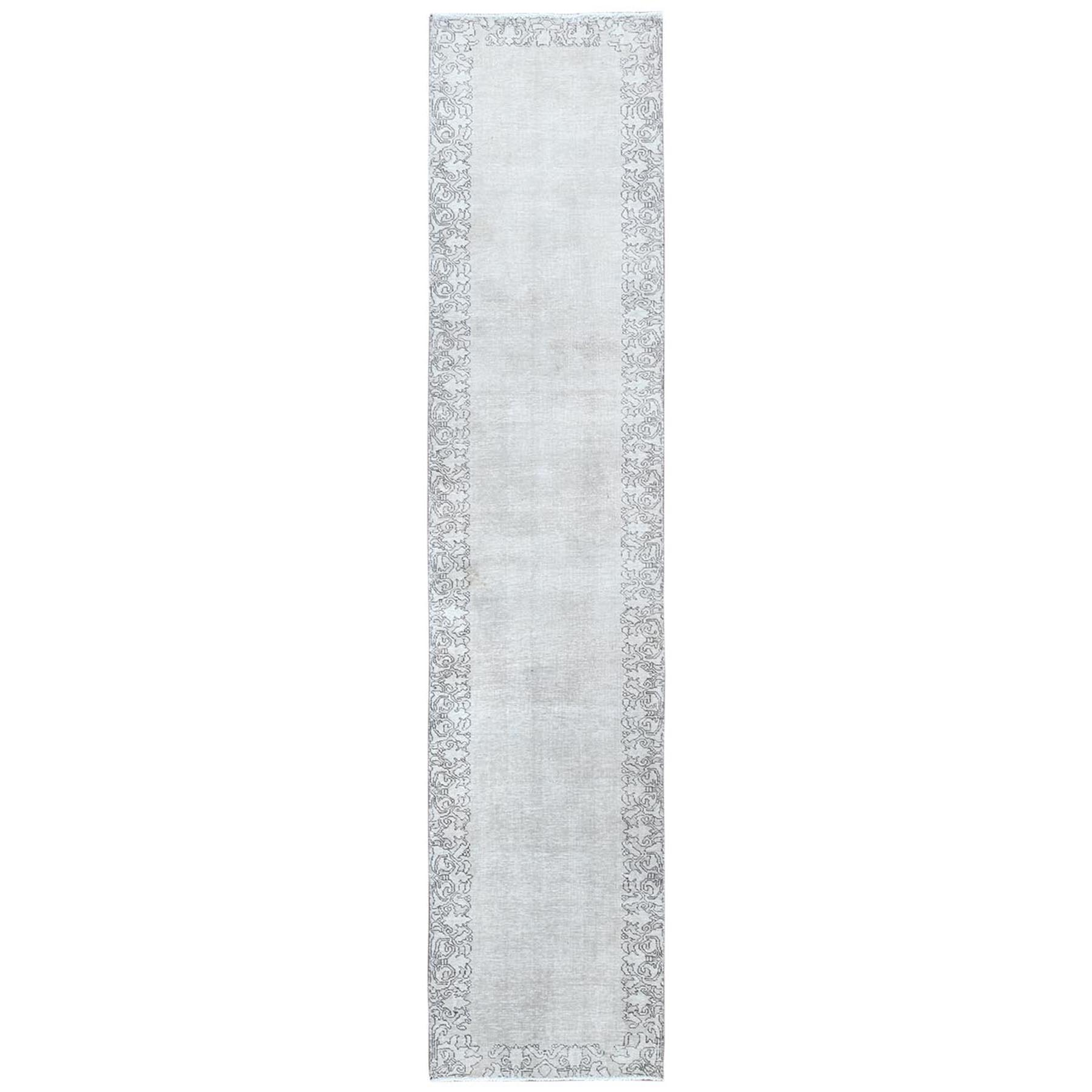 Fetneh Collection And Vintage Overdyed Collection Hand Knotted Grey Rug No: 1122066