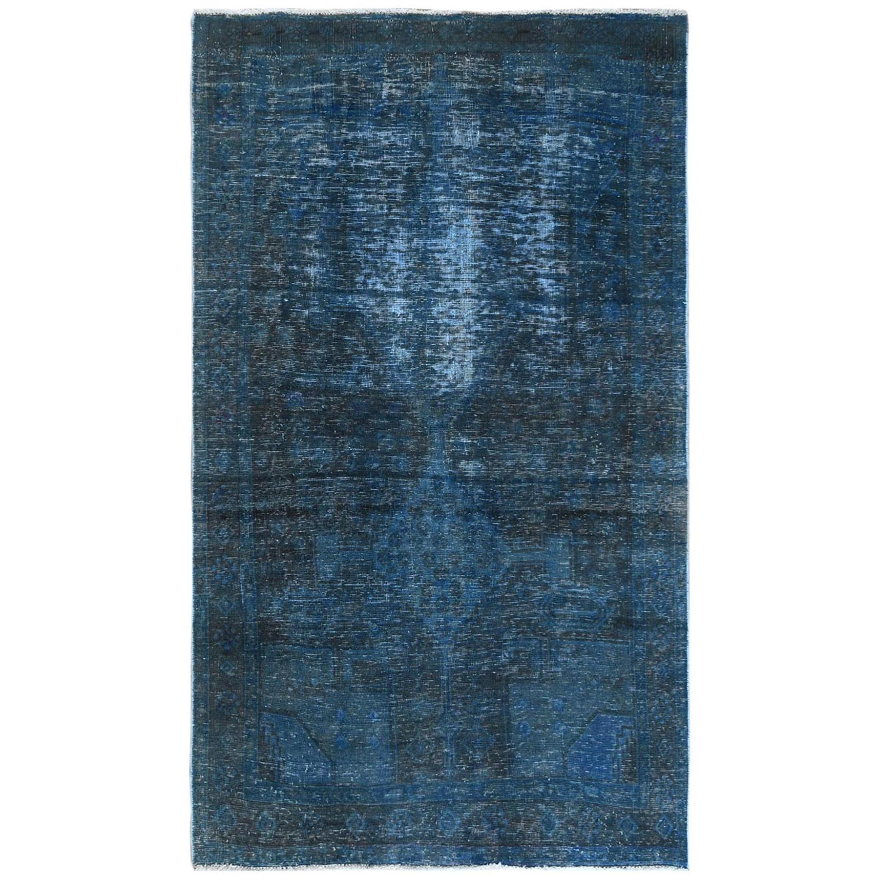 Fetneh Collection And Vintage Overdyed Collection Hand Knotted Teal Rug No: 1122136