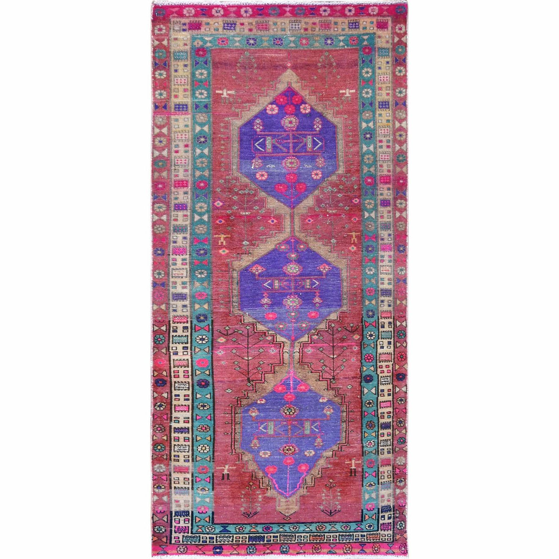 Fetneh Collection And Vintage Overdyed Collection Hand Knotted Pink Rug No: 1121970