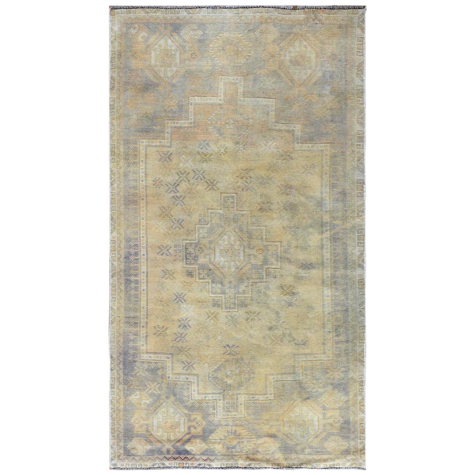 Fetneh Collection And Vintage Overdyed Collection Hand Knotted Yellow Rug No: 1122142