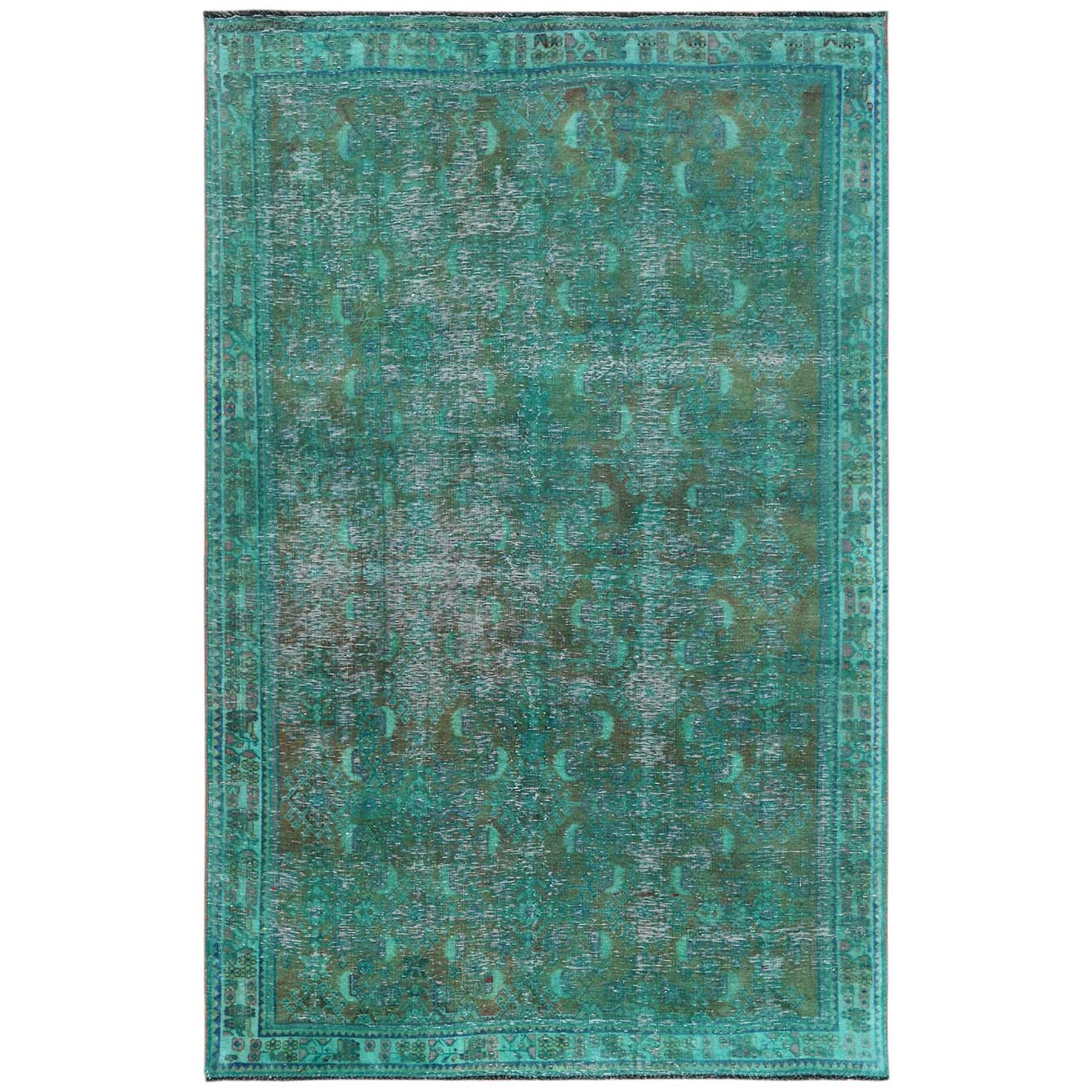 Fetneh Collection And Vintage Overdyed Collection Hand Knotted Green Rug No: 1122154