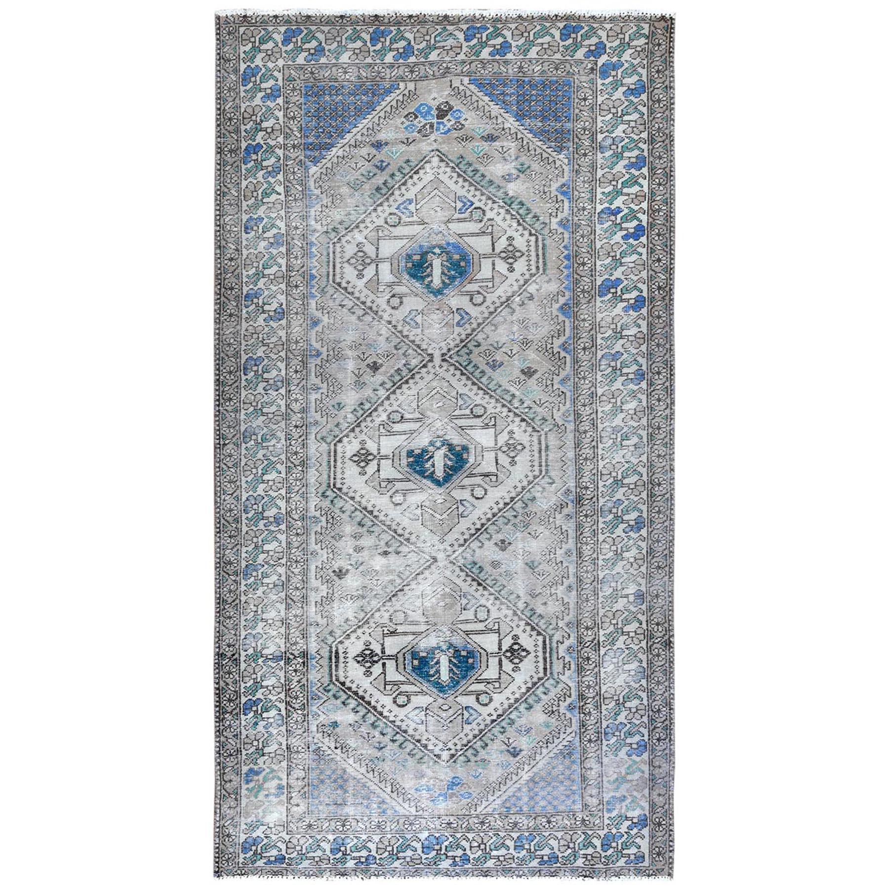 Fetneh Collection And Vintage Overdyed Collection Hand Knotted Grey Rug No: 1122156
