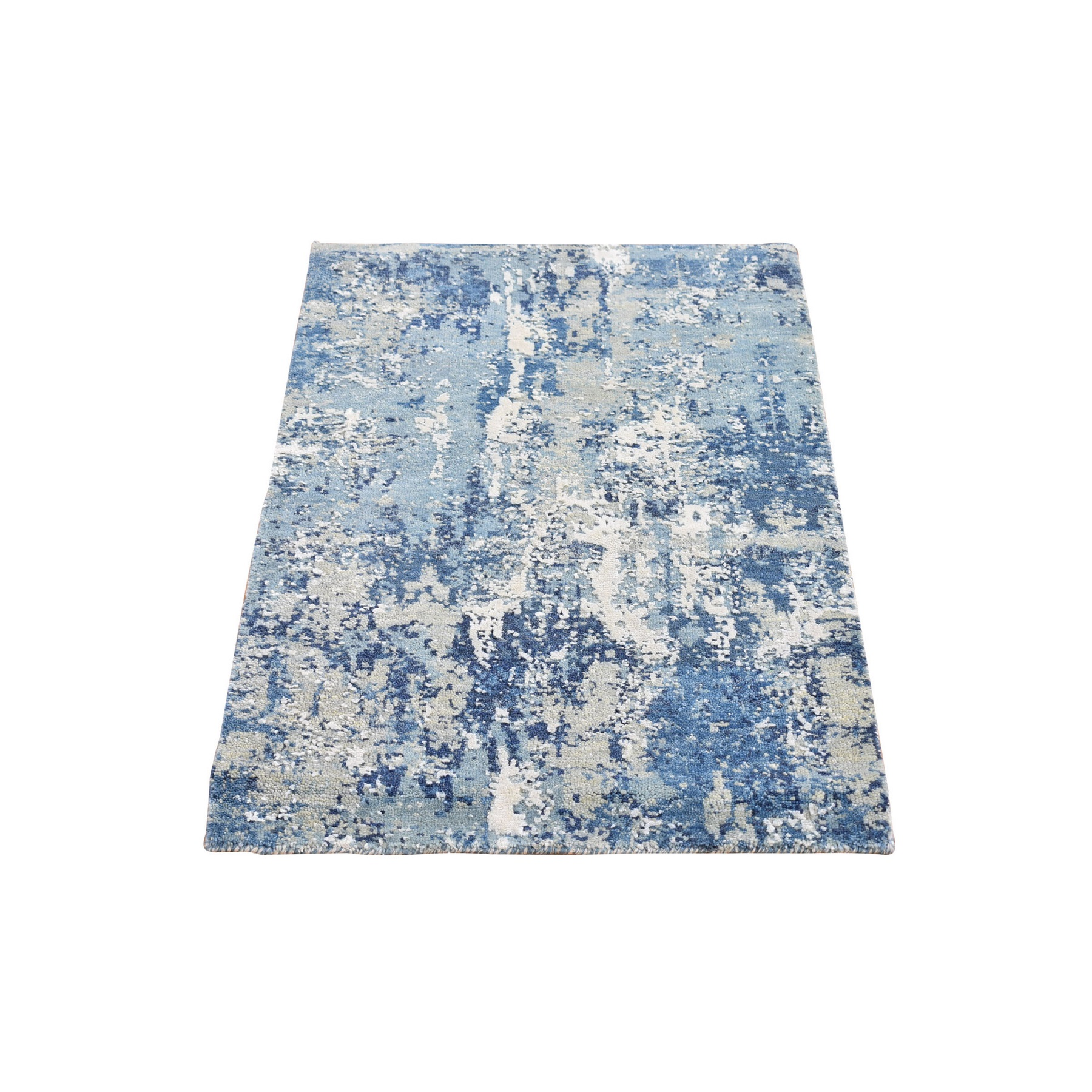 Mid Century Modern Collection Hand Knotted Blue Rug No: 1133528