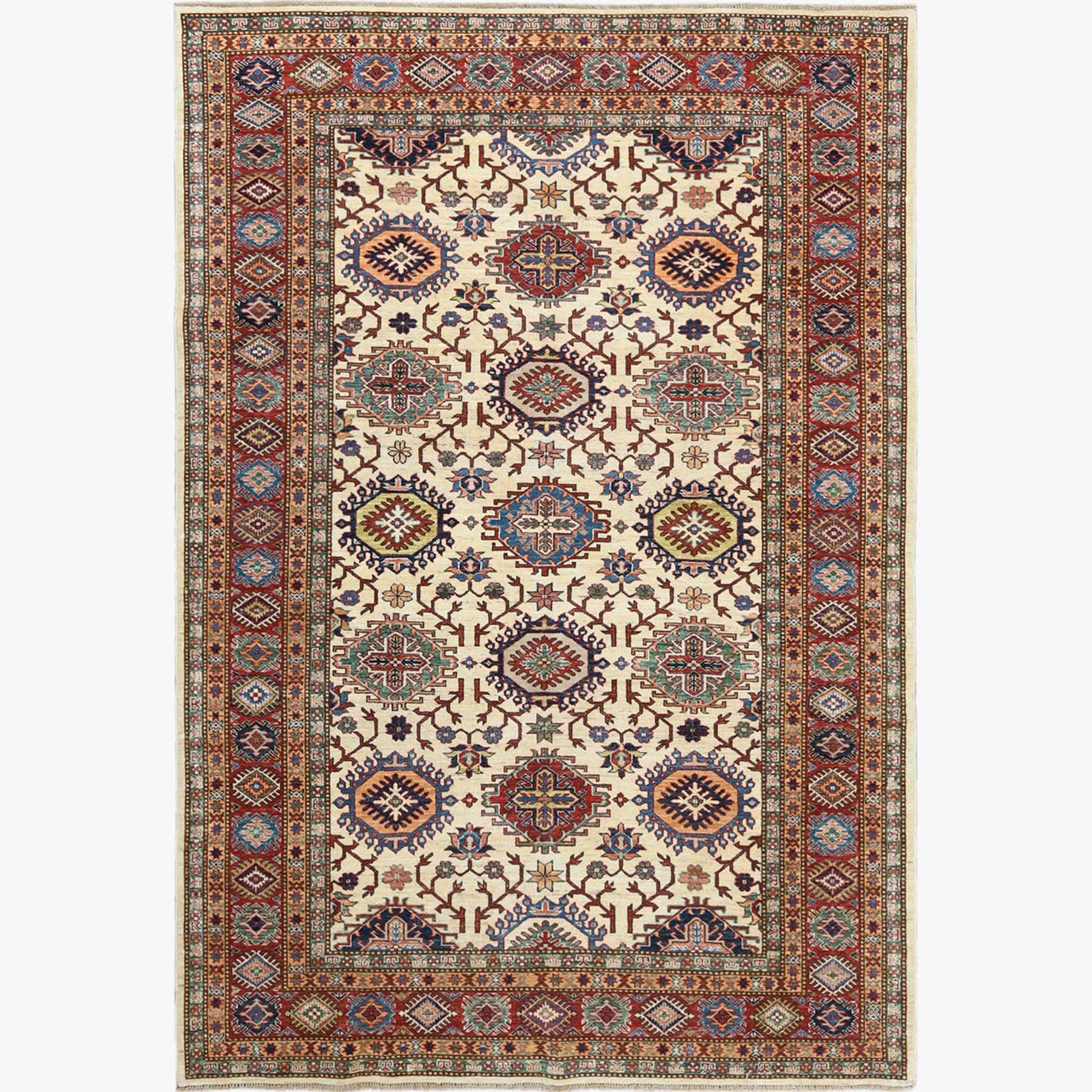 Caucasian Collection Hand Knotted Ivory Rug No: 1122564