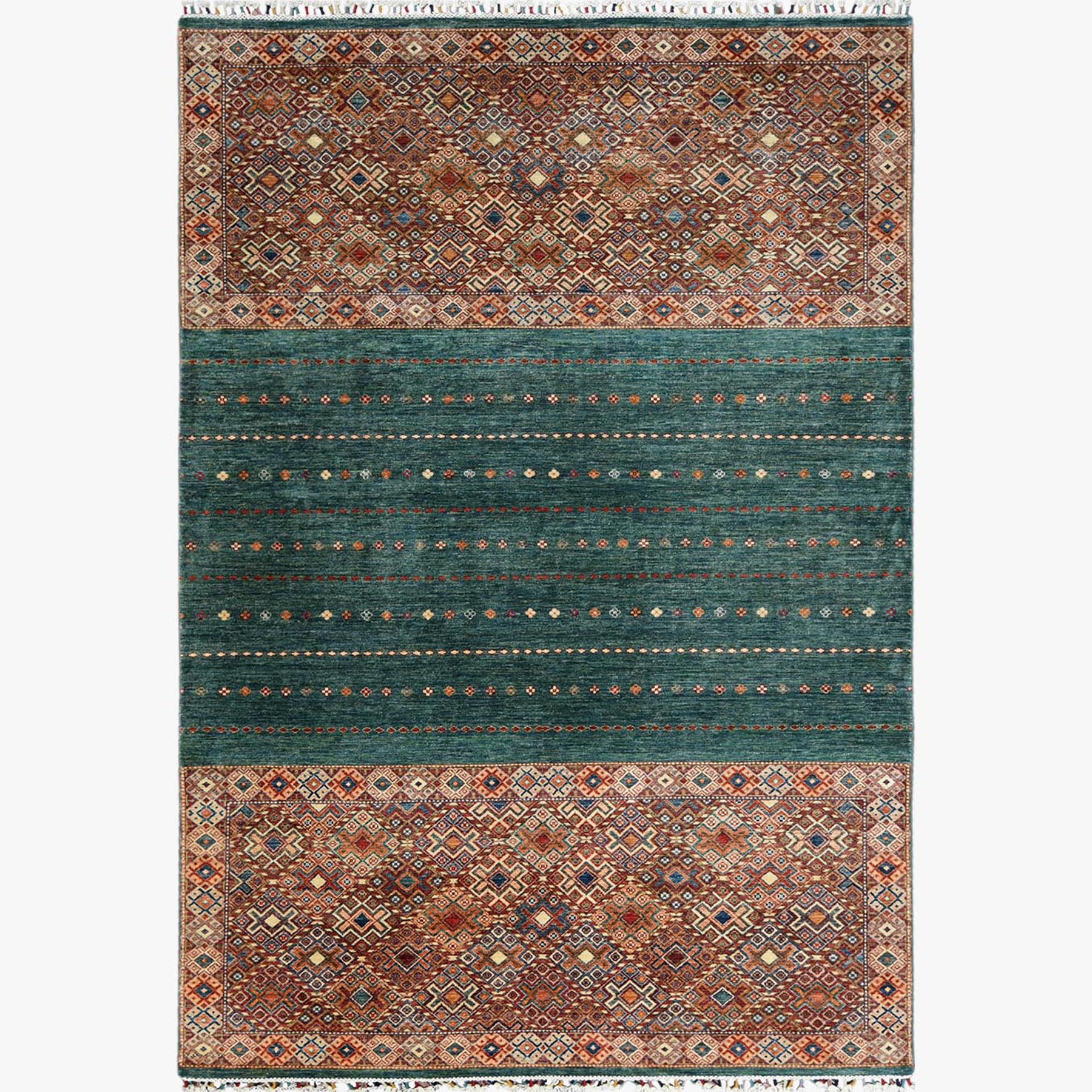 Caucasian Collection Hand Knotted Green Rug No: 1122562