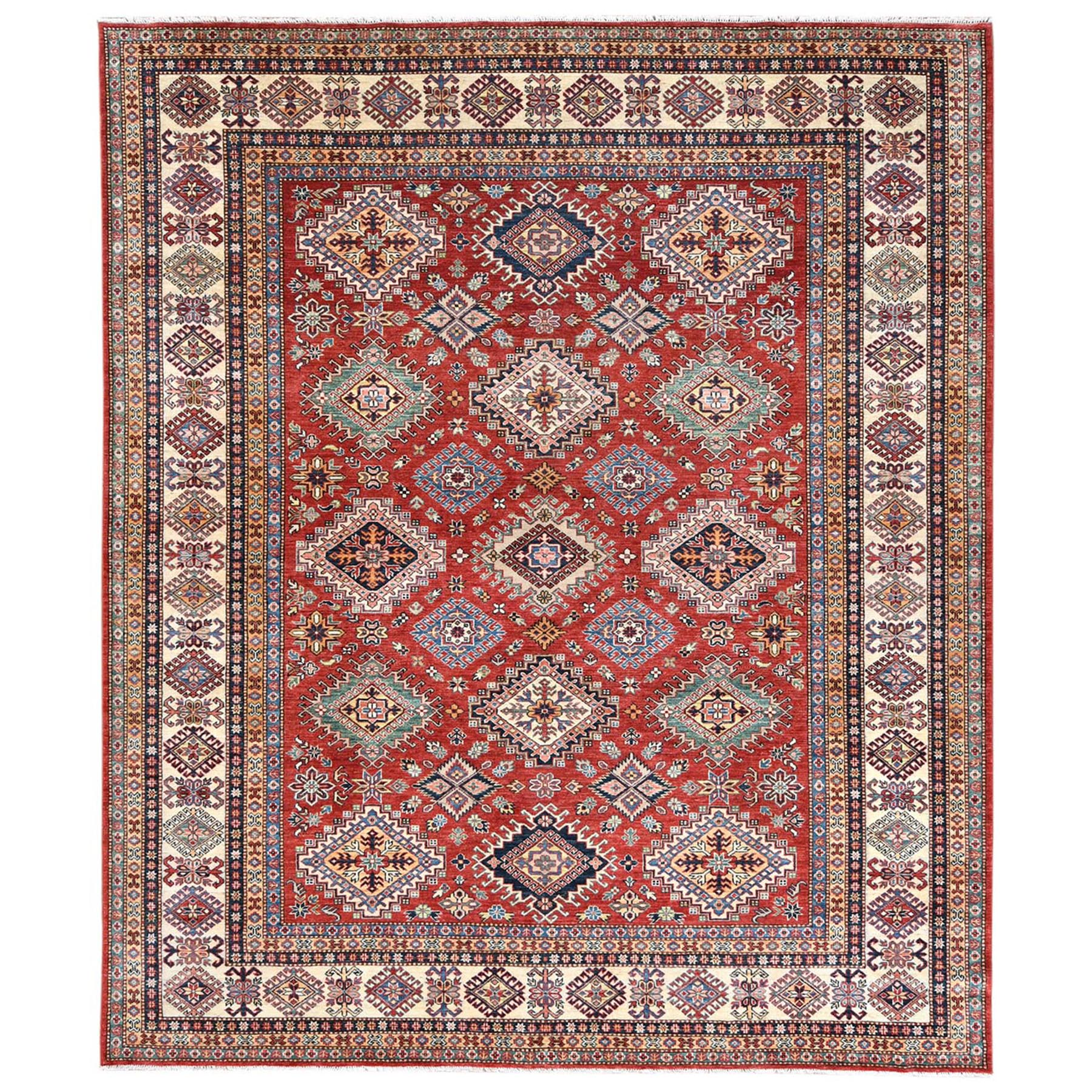 Caucasian Collection Hand Knotted Red Rug No: 1122710
