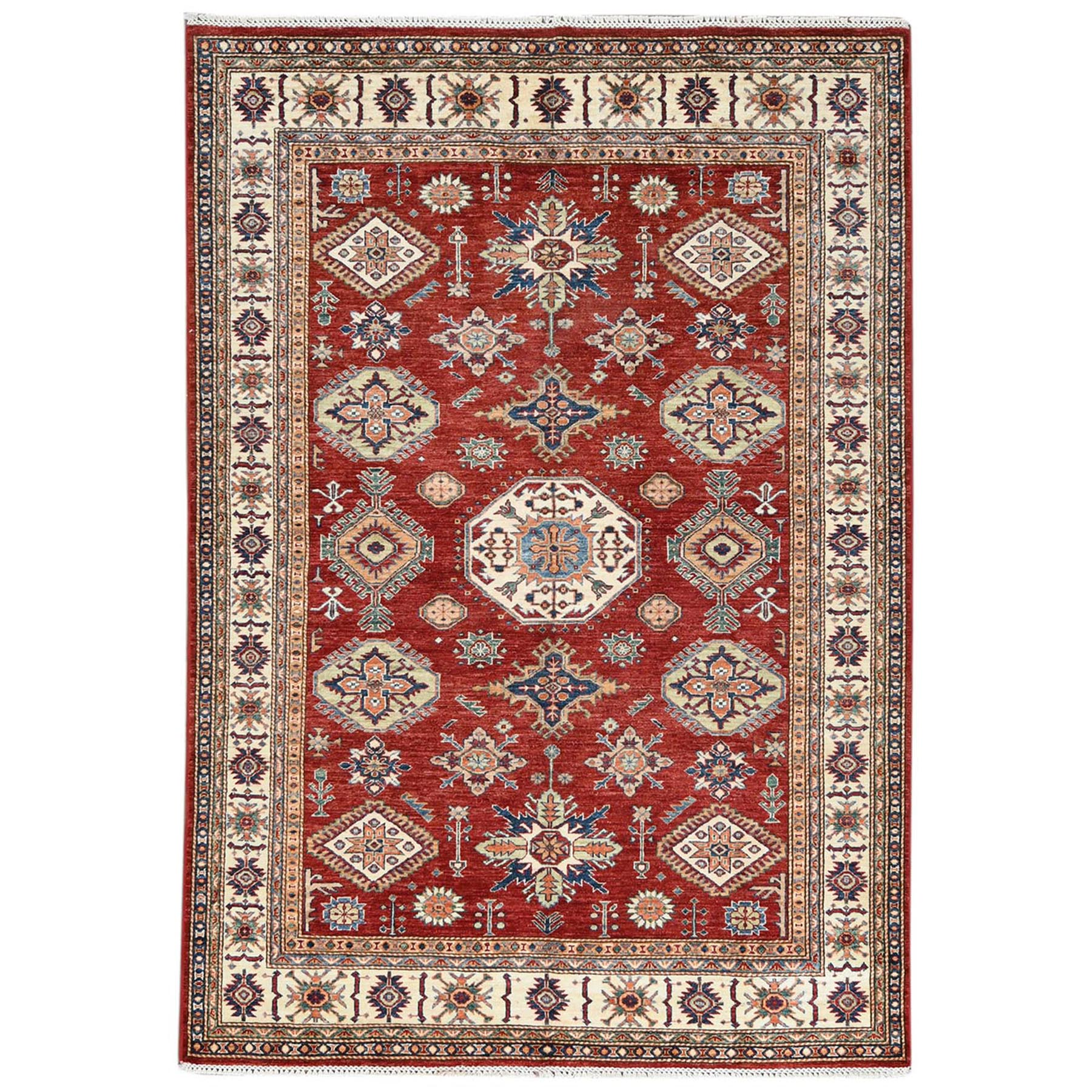 Caucasian Collection Hand Knotted Red Rug No: 1122716