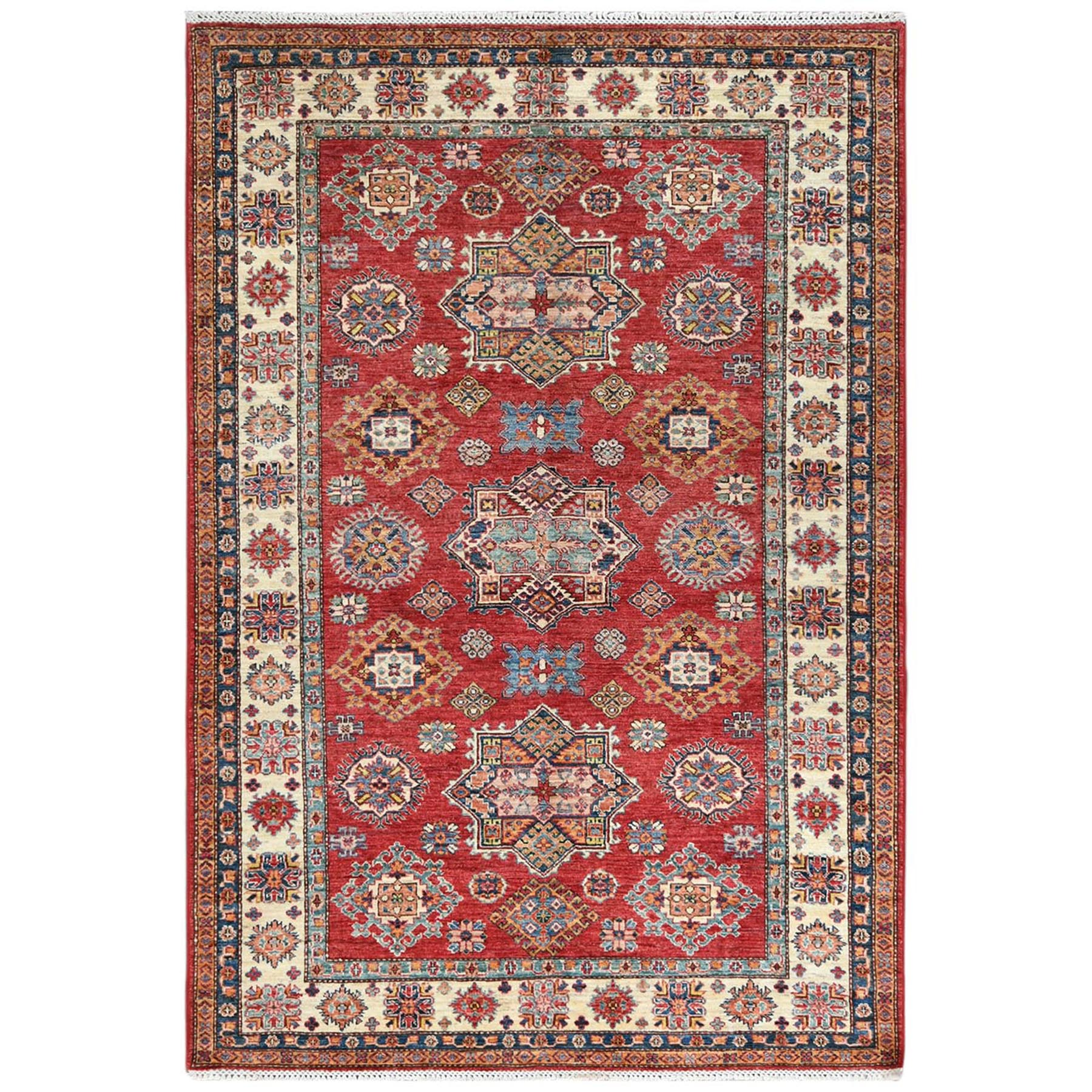 Caucasian Collection Hand Knotted Red Rug No: 1122720