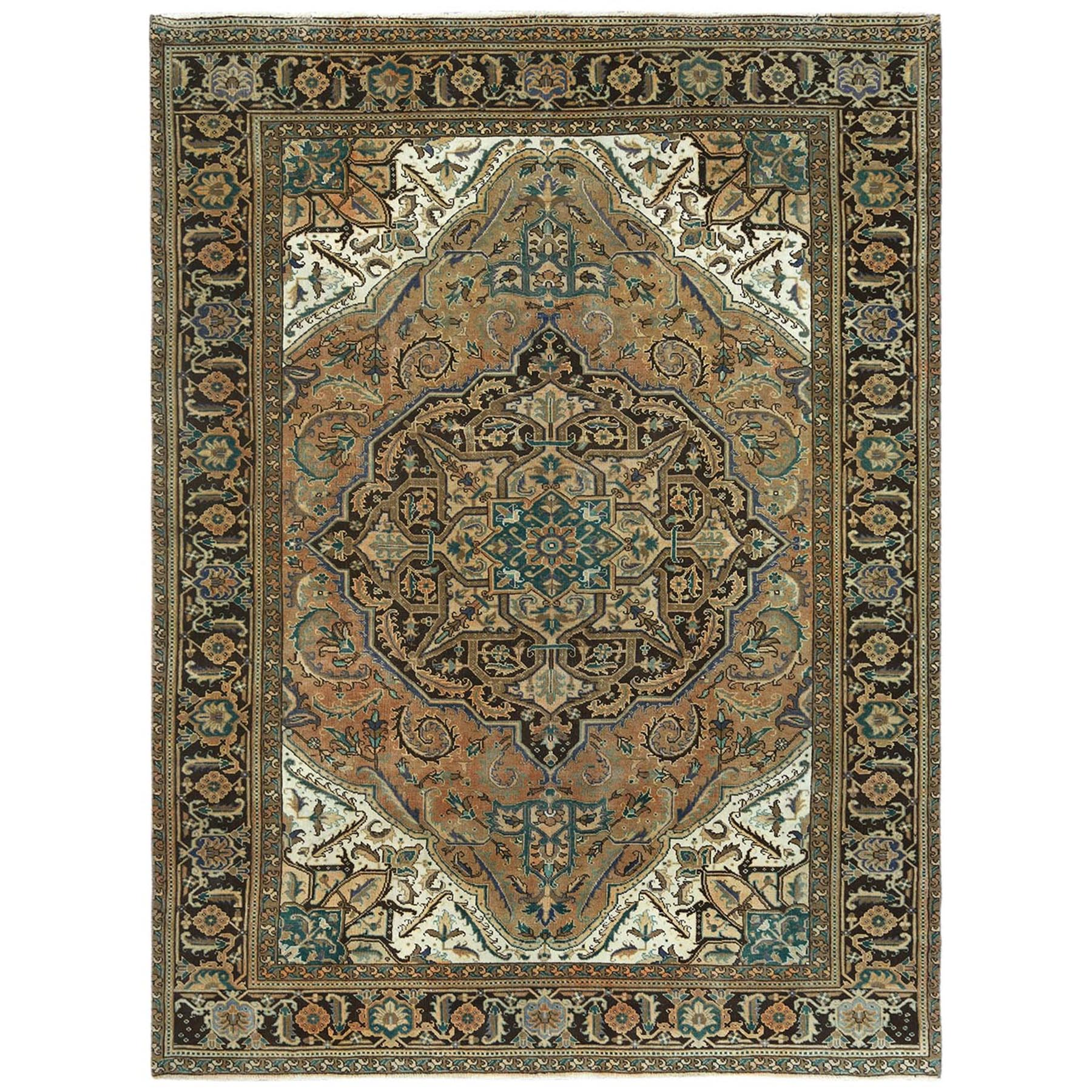Fetneh Collection And Vintage Overdyed Collection Hand Knotted Brown Rug No: 1122526