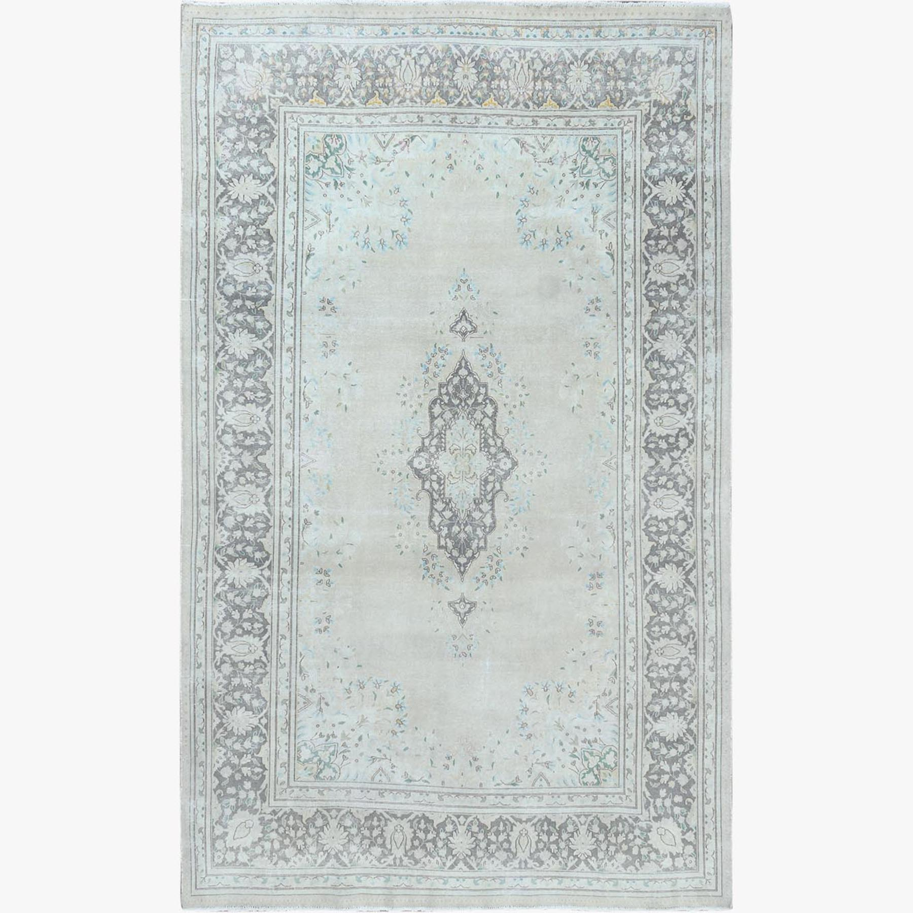 Fetneh Collection And Vintage Overdyed Collection Hand Knotted Grey Rug No: 1122676
