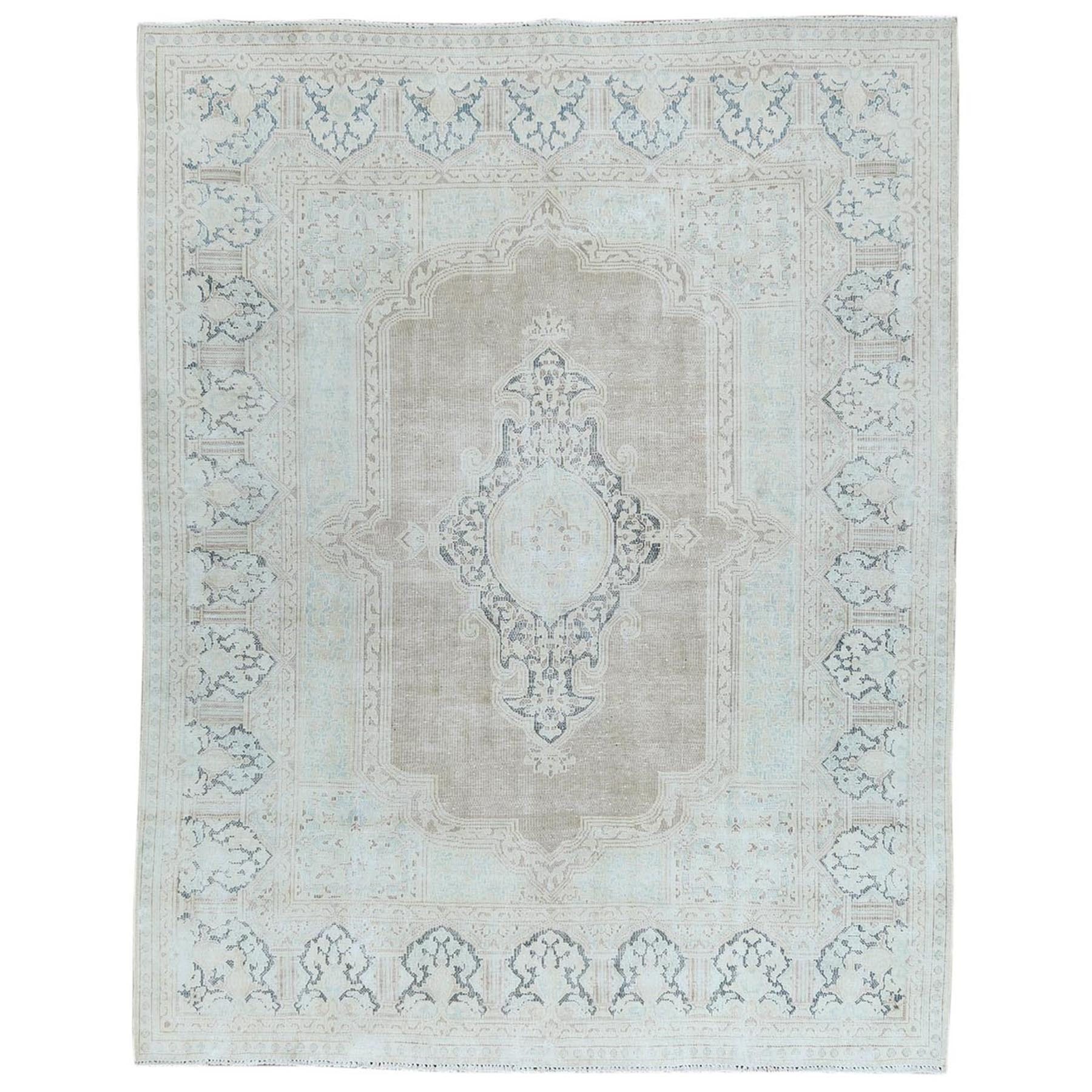 Fetneh Collection And Vintage Overdyed Collection Hand Knotted Beige Rug No: 1122704