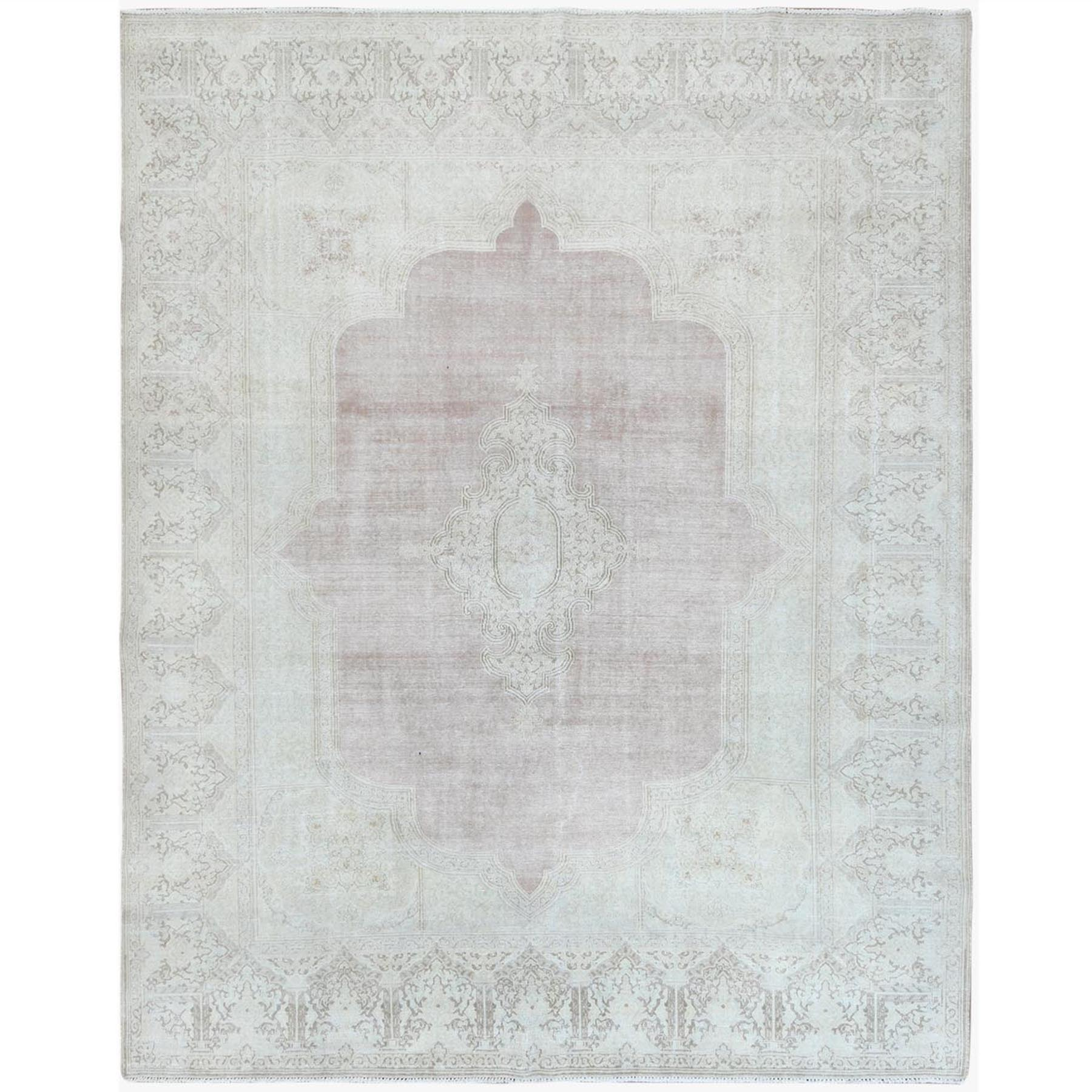 Fetneh Collection And Vintage Overdyed Collection Hand Knotted Beige Rug No: 1122814