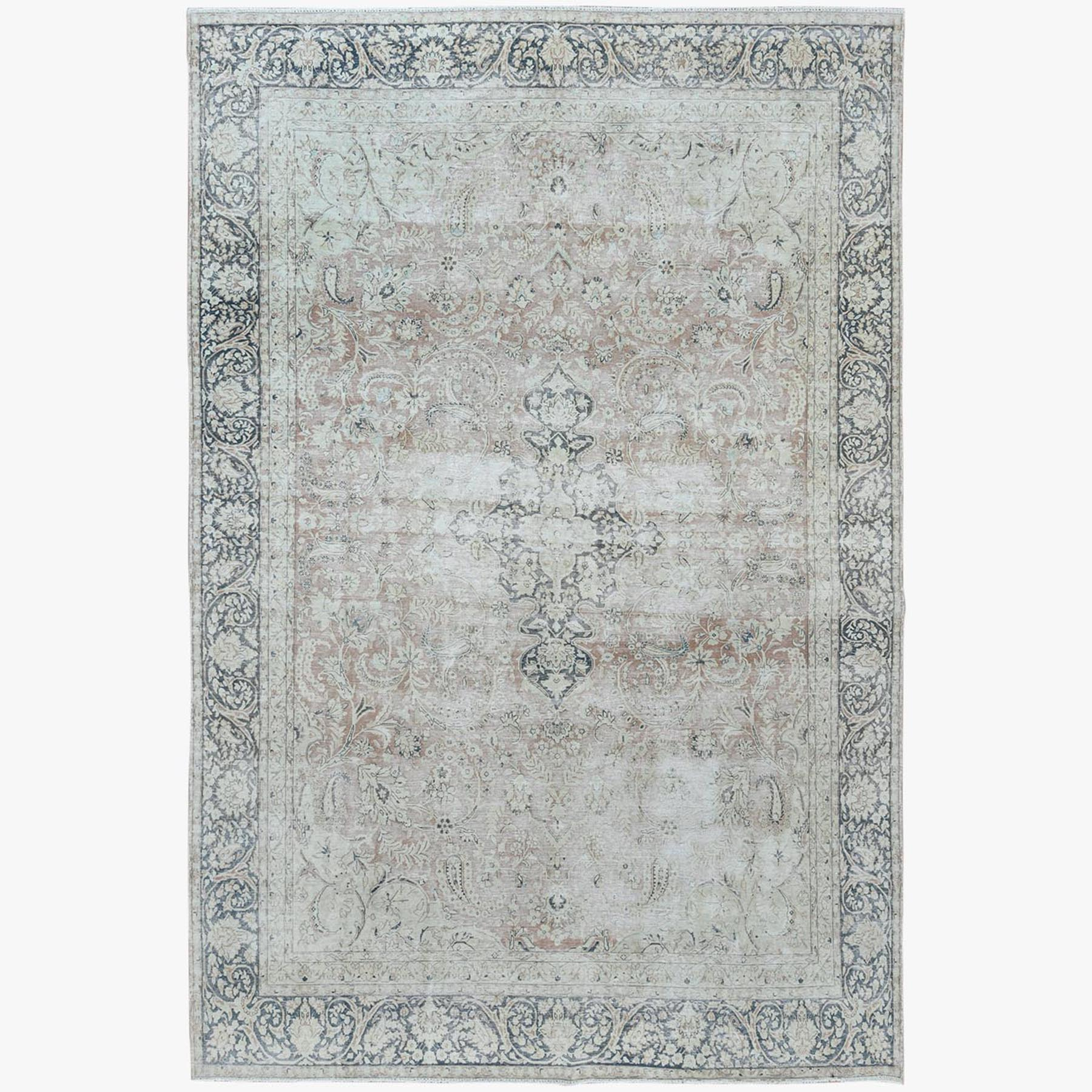 Fetneh Collection And Vintage Overdyed Collection Hand Knotted Beige Rug No: 1122820