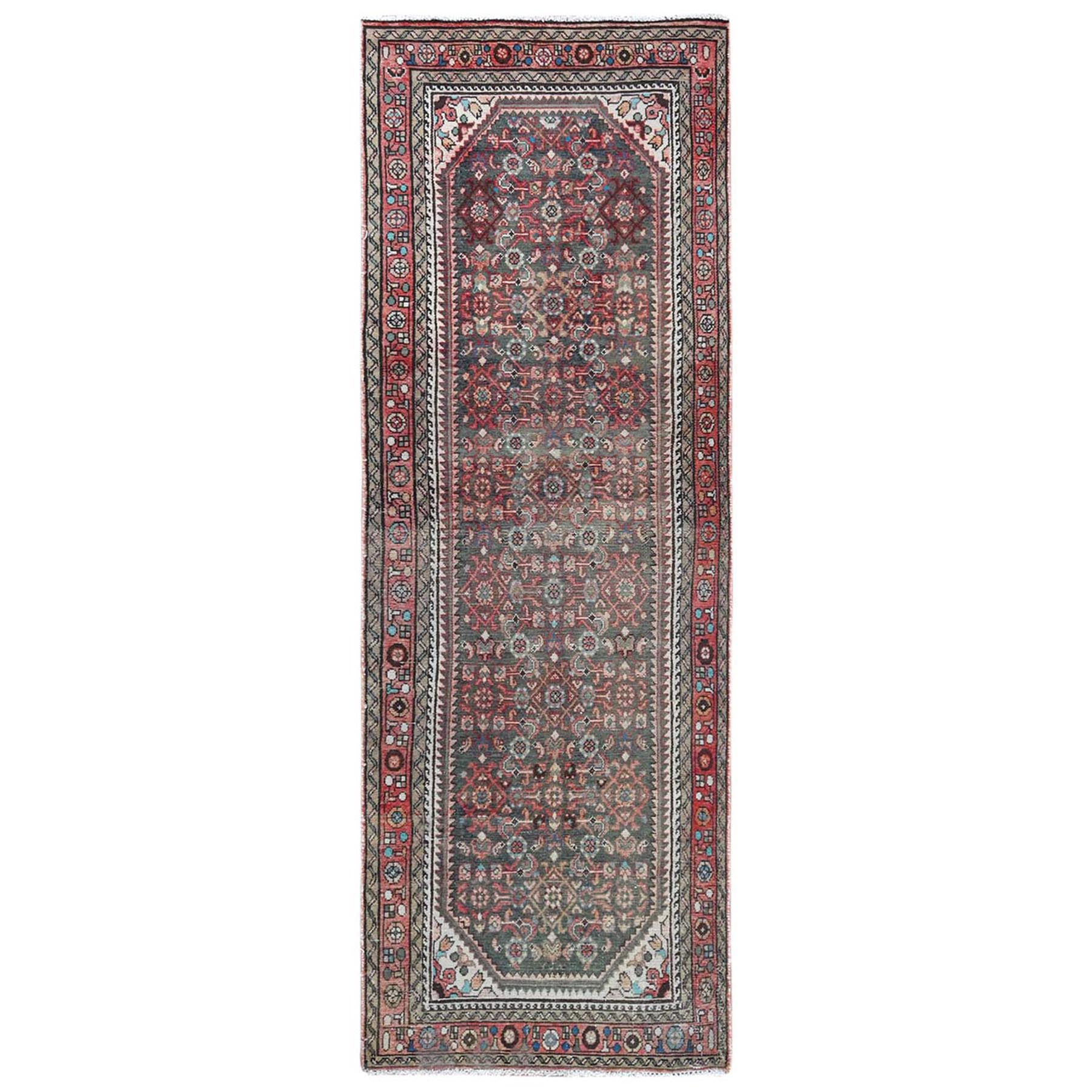 Fetneh Collection And Vintage Overdyed Collection Hand Knotted Green Rug No: 1121868