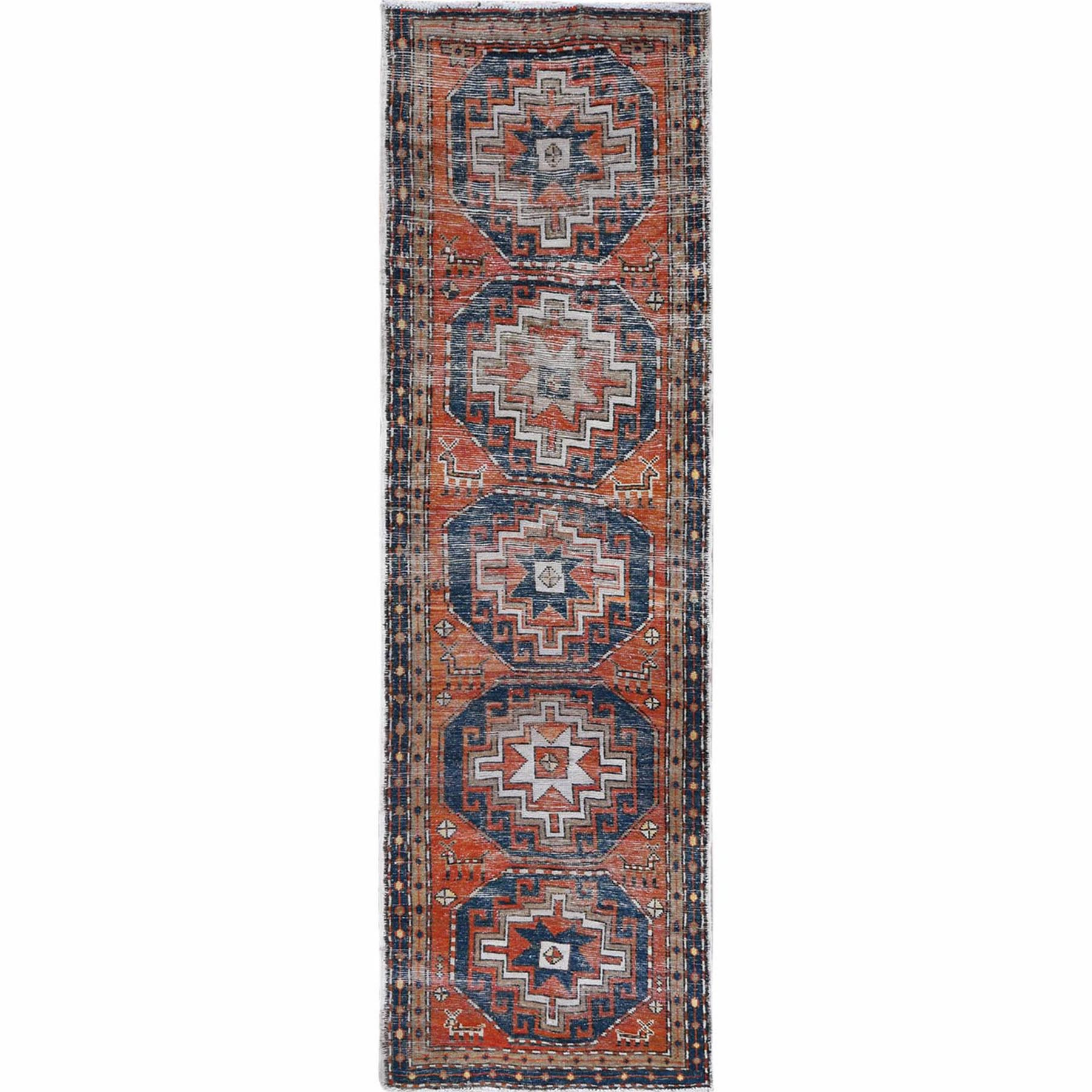Fetneh Collection And Vintage Overdyed Collection Hand Knotted Orange Rug No: 1121988