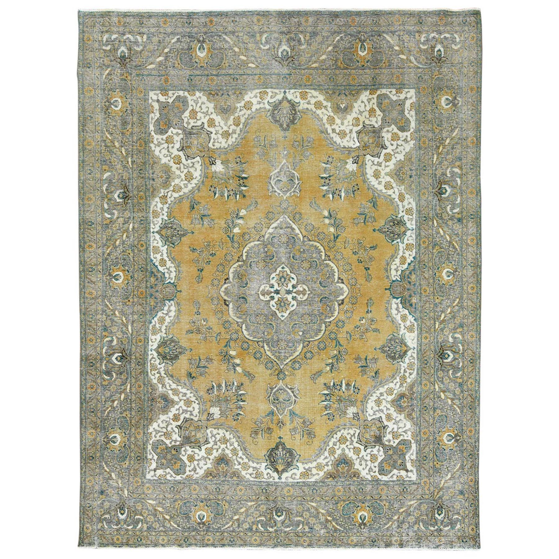 Fetneh Collection And Vintage Overdyed Collection Hand Knotted Yellow Rug No: 1122768
