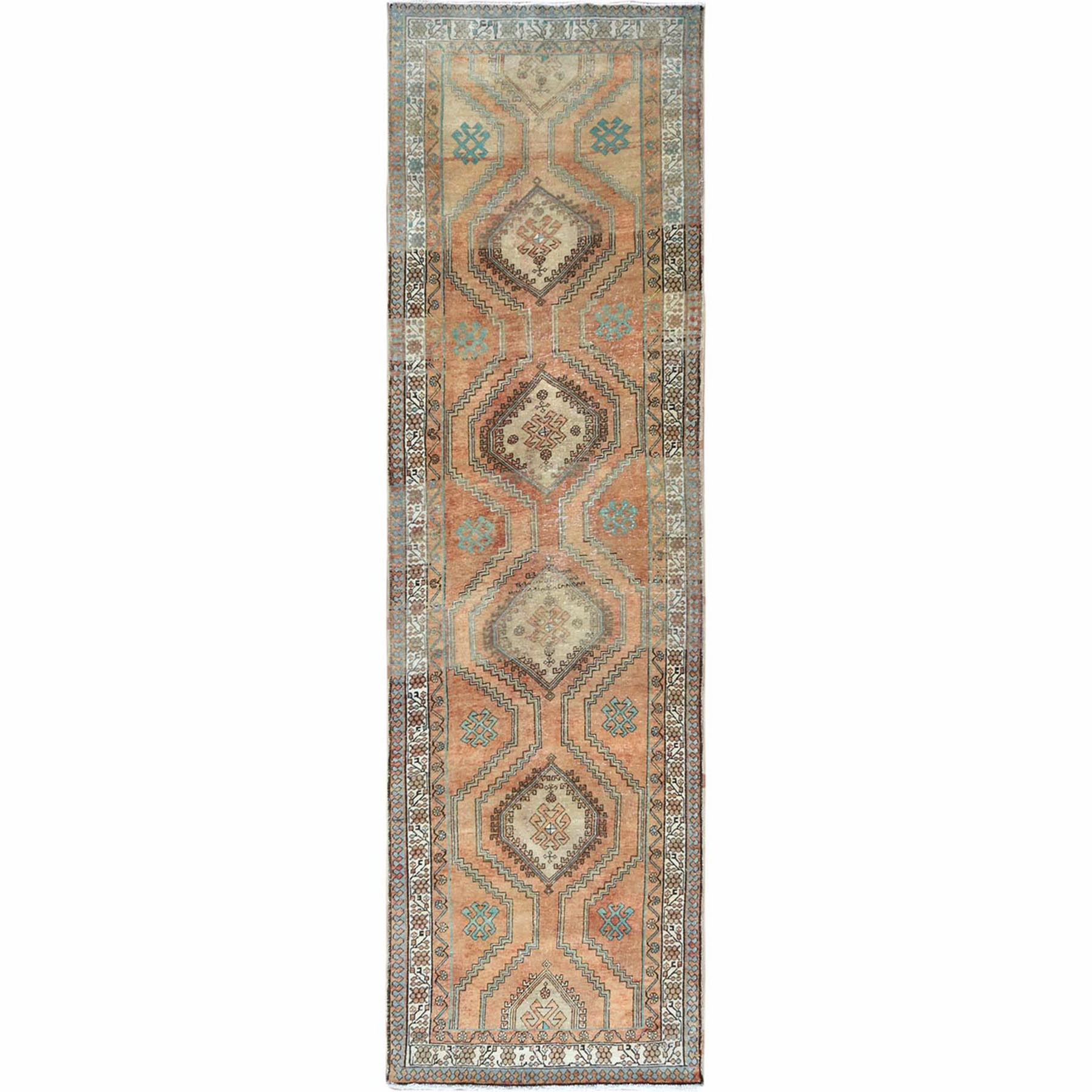 Fetneh Collection And Vintage Overdyed Collection Hand Knotted Orange Rug No: 1121996