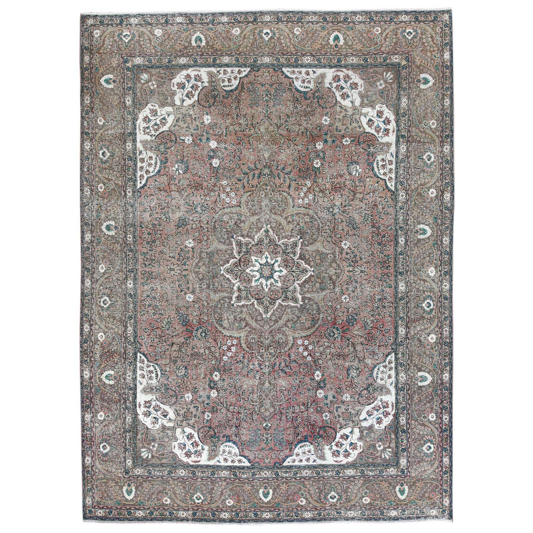 Fetneh Collection And Vintage Overdyed Collection Hand Knotted Brown Rug No: 1122780