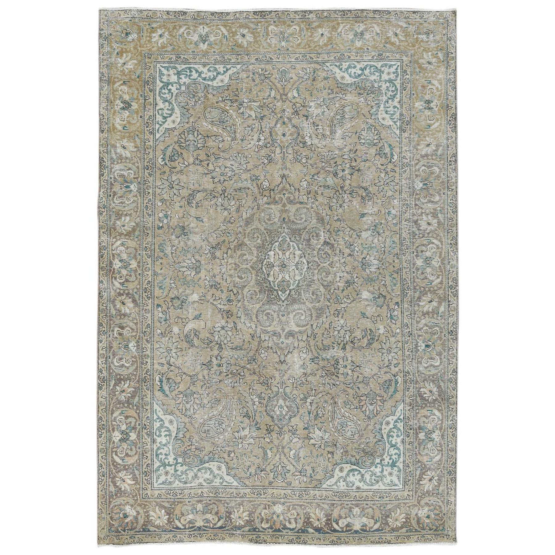 Fetneh Collection And Vintage Overdyed Collection Hand Knotted Beige Rug No: 1122782