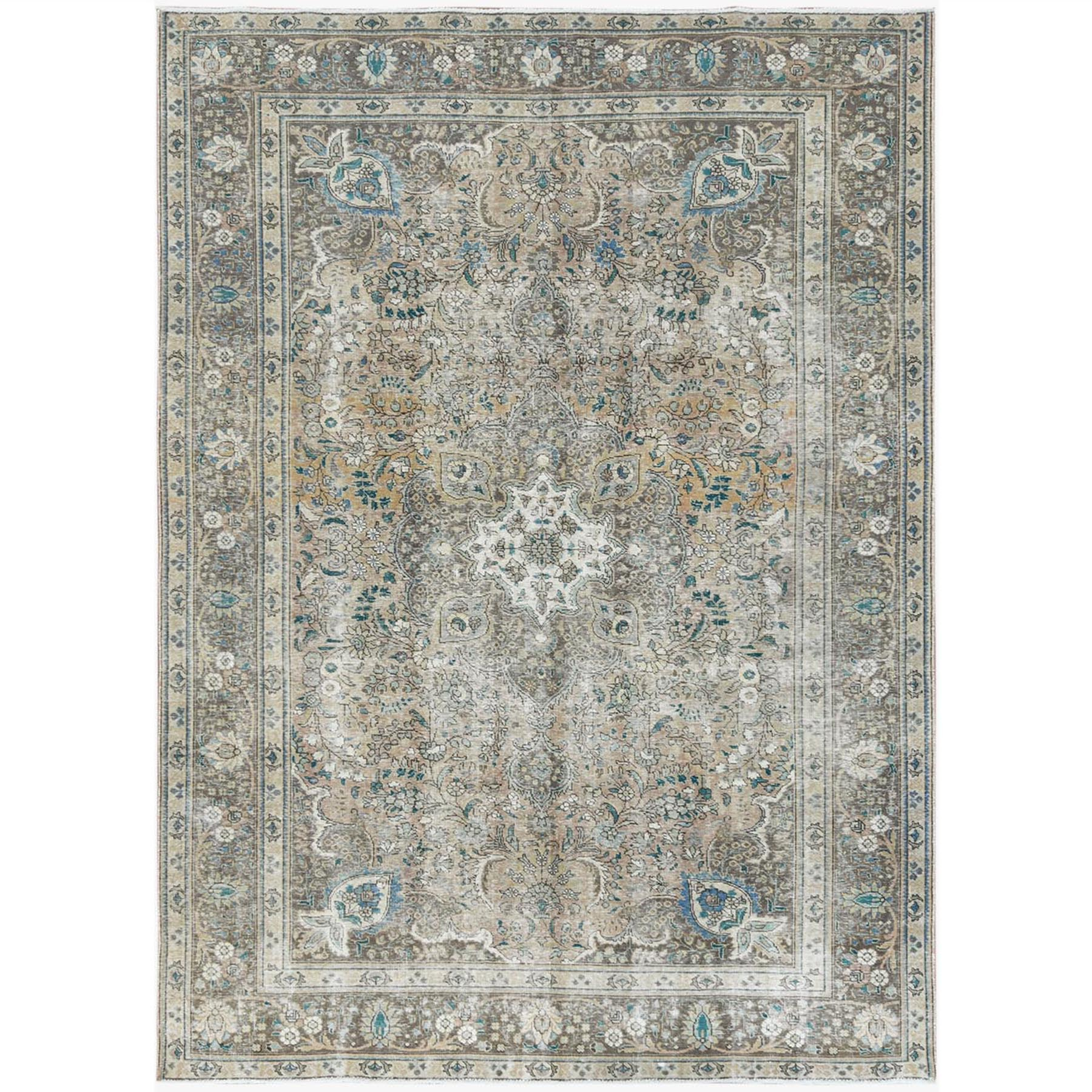 Fetneh Collection And Vintage Overdyed Collection Hand Knotted Beige Rug No: 1122784