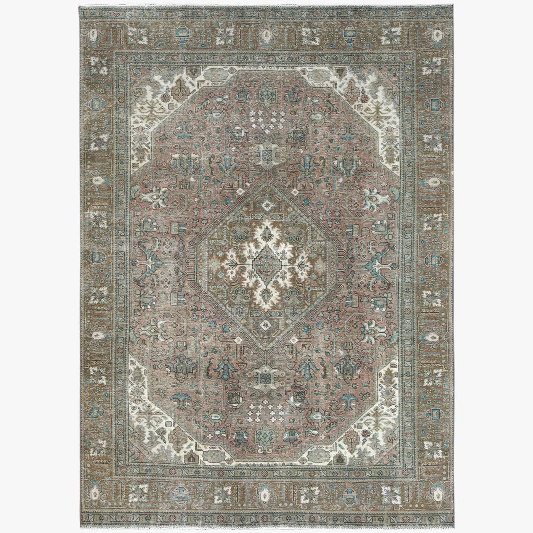 Fetneh Collection And Vintage Overdyed Collection Hand Knotted Beige Rug No: 1122792